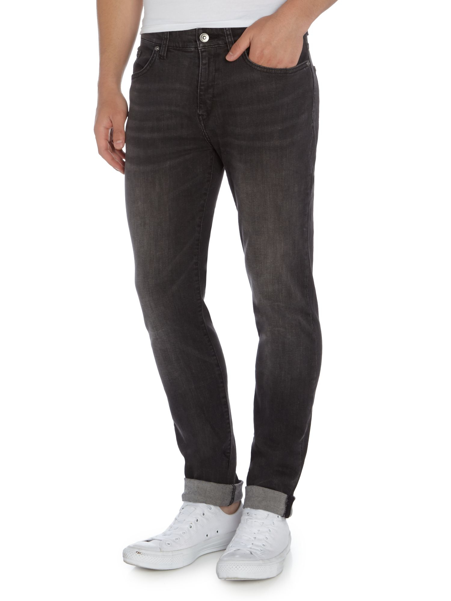 boss delaware 3 1 slim fit grey jeans in grey for men. Black Bedroom Furniture Sets. Home Design Ideas