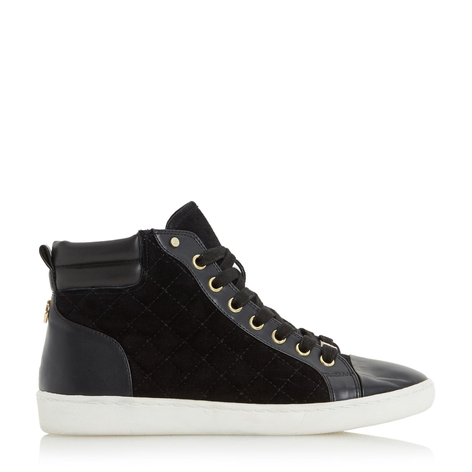 Dune Leather Entourage Hi Top Trainers in Black for Men