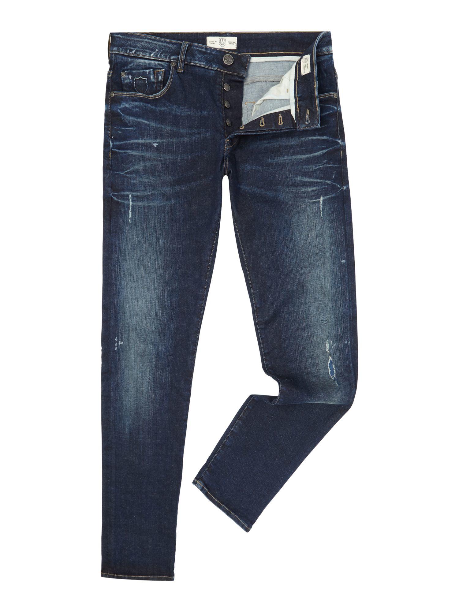 883 Police Denim Moriarty La 359 Activeflex Slim Jeans in Dark Blue (Blue) for Men