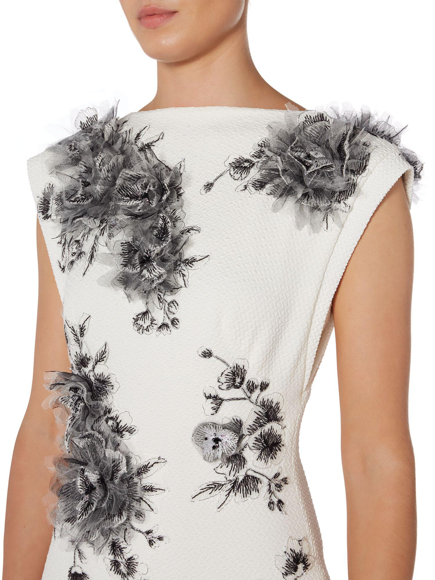 Tadashi Shoji Synthetic Sleeveless Gown With Floral Applique in Black & Ivory (White)