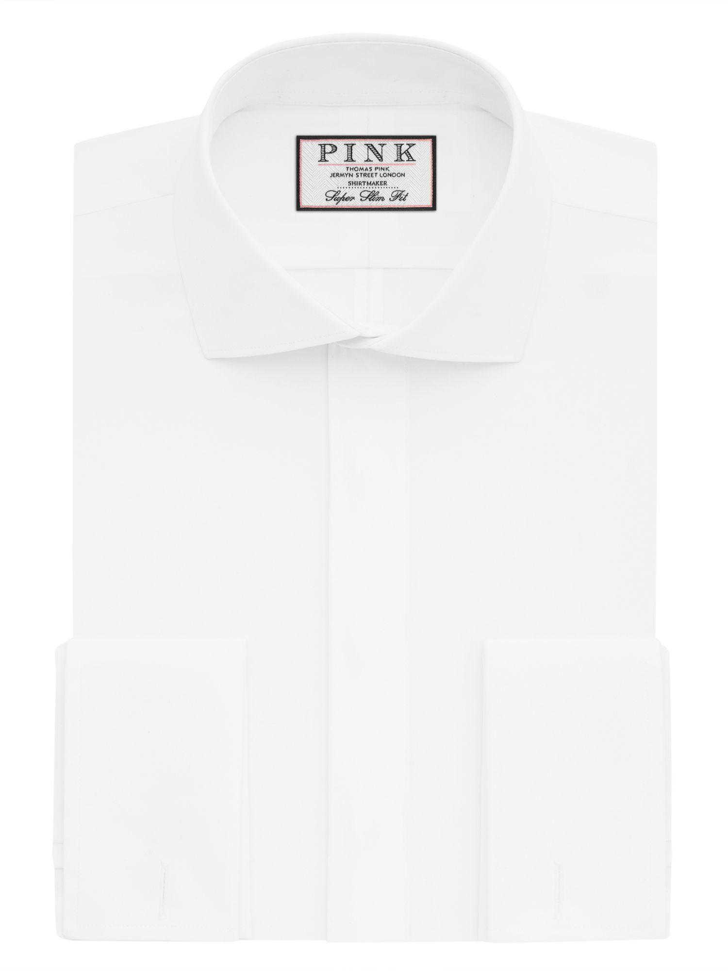 Thomas Pink Placket Super Slim Fit Double Cuff Dress Shirt