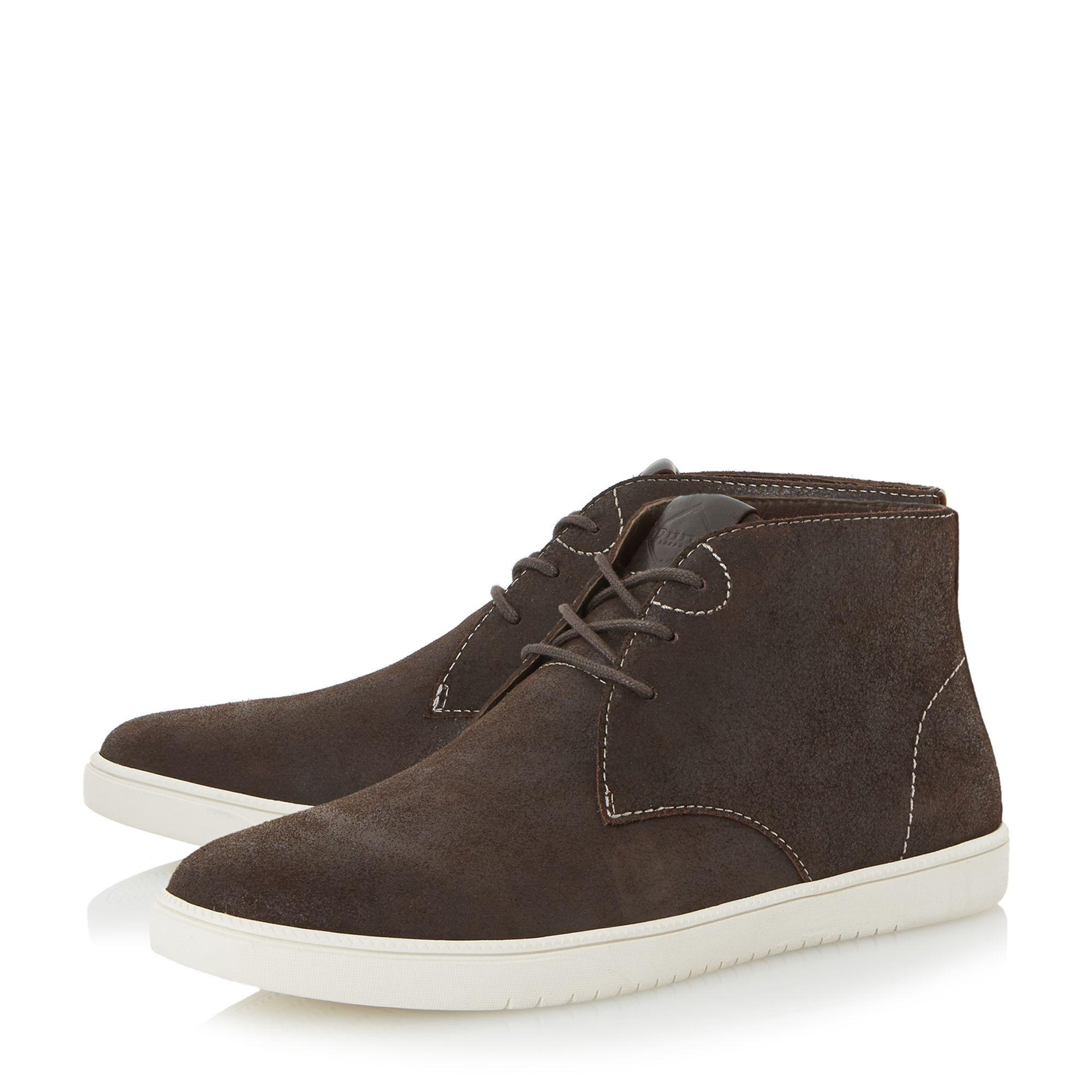 Dune Denim Shoreditch High Top Lace Up Trainers in Brown for Men