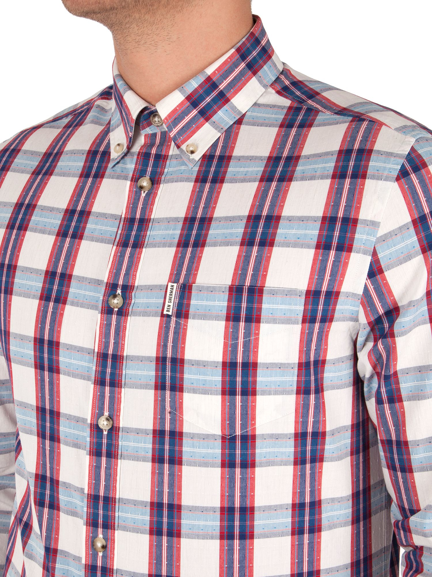 Ben Sherman Cotton Check With Dobby Shirt in Brown for Men