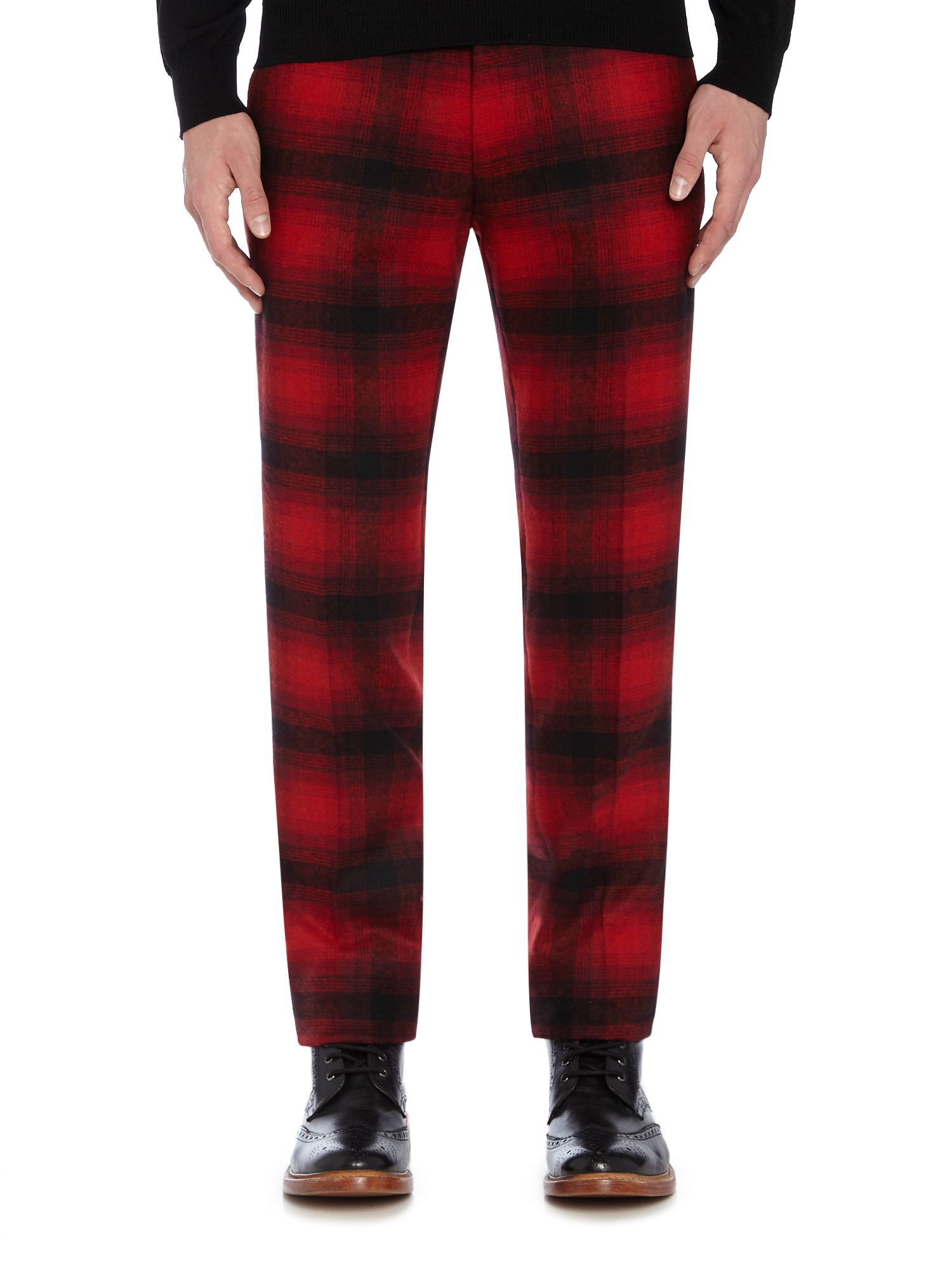 Noose And Monkey Wool Skinny Fit Check Trousers in Red (Blue) for Men