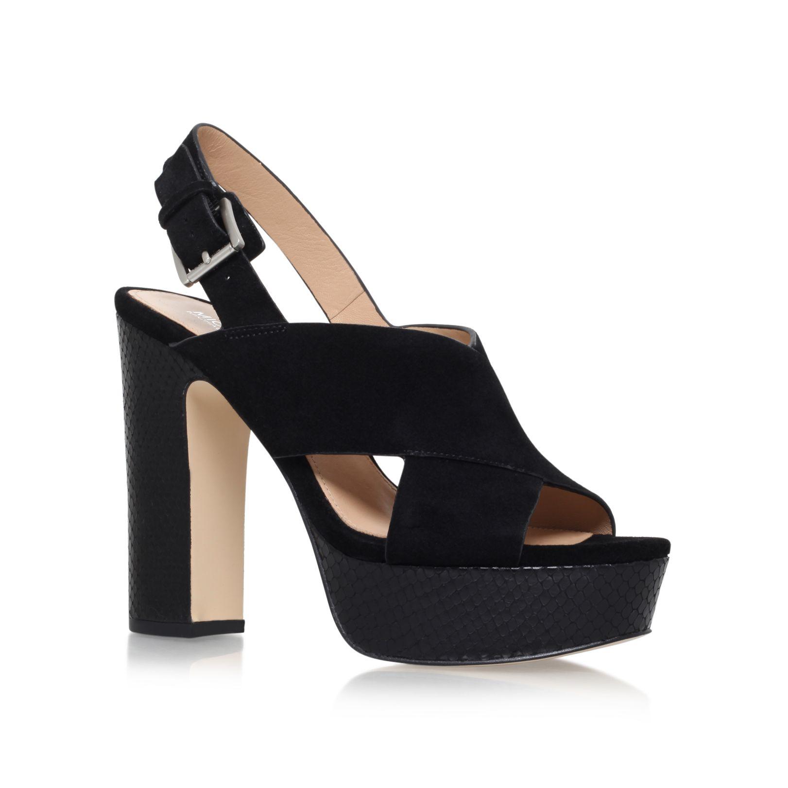 michael kors mariana high heel slingback sandals in black. Black Bedroom Furniture Sets. Home Design Ideas