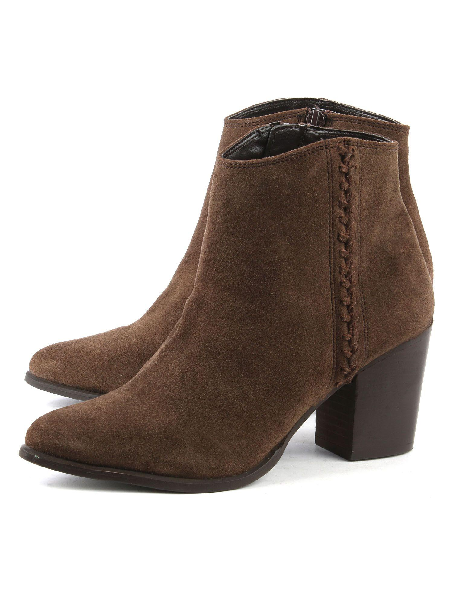 Daniel Leather Victorina Pointed Toe Ankle Boots in Brown