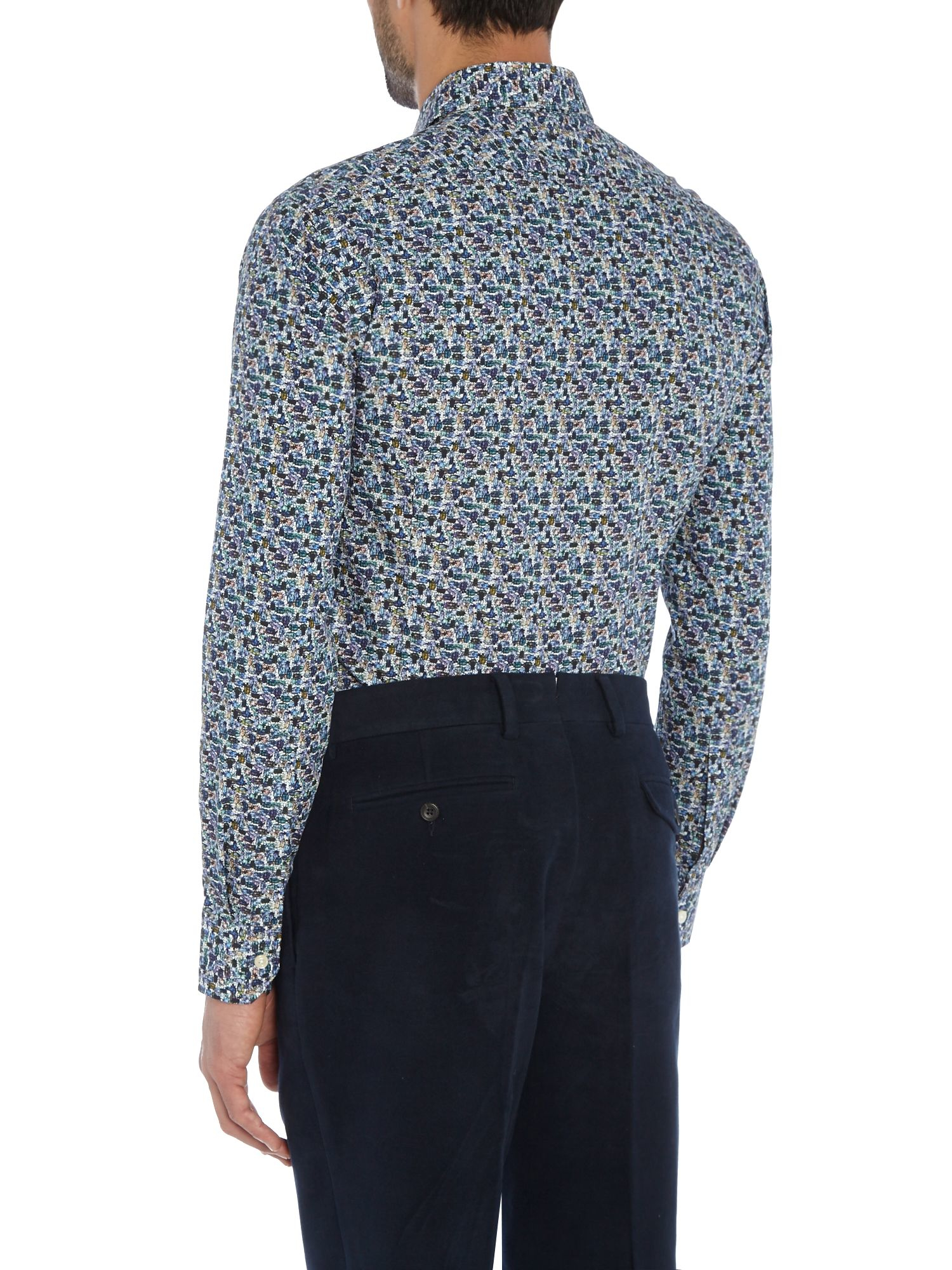 Lyst simon carter beetle print shirt in blue for men for Mens dress shirts with cufflink holes