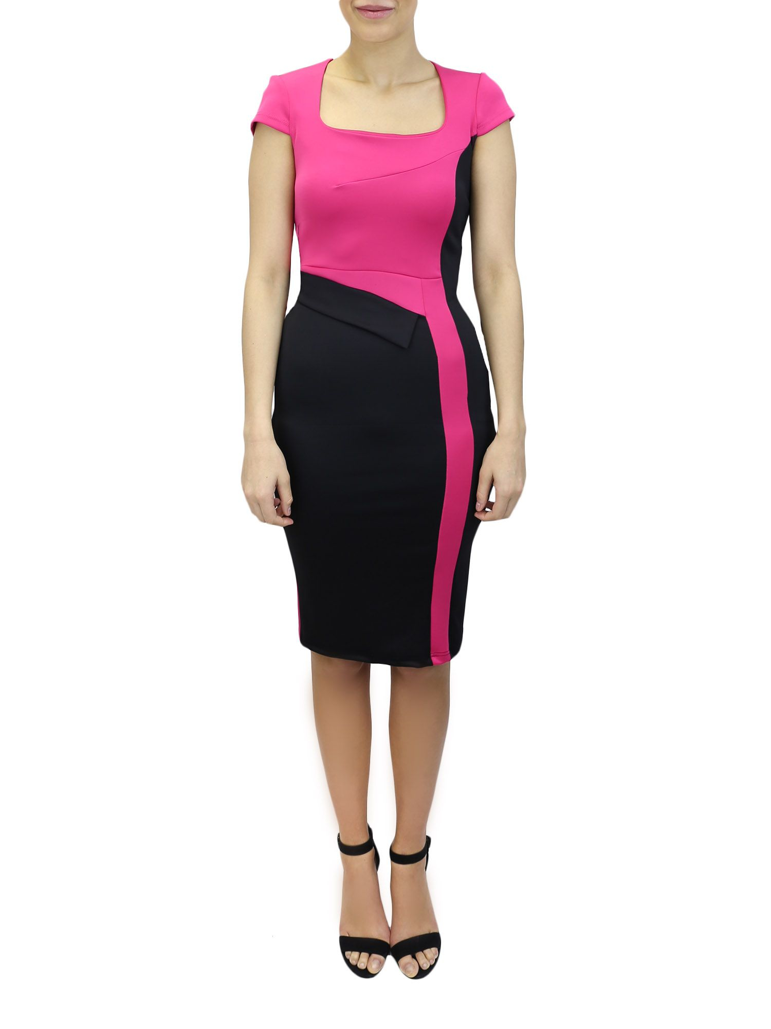 feverfish colour block bodycon dress in pink lyst. Black Bedroom Furniture Sets. Home Design Ideas