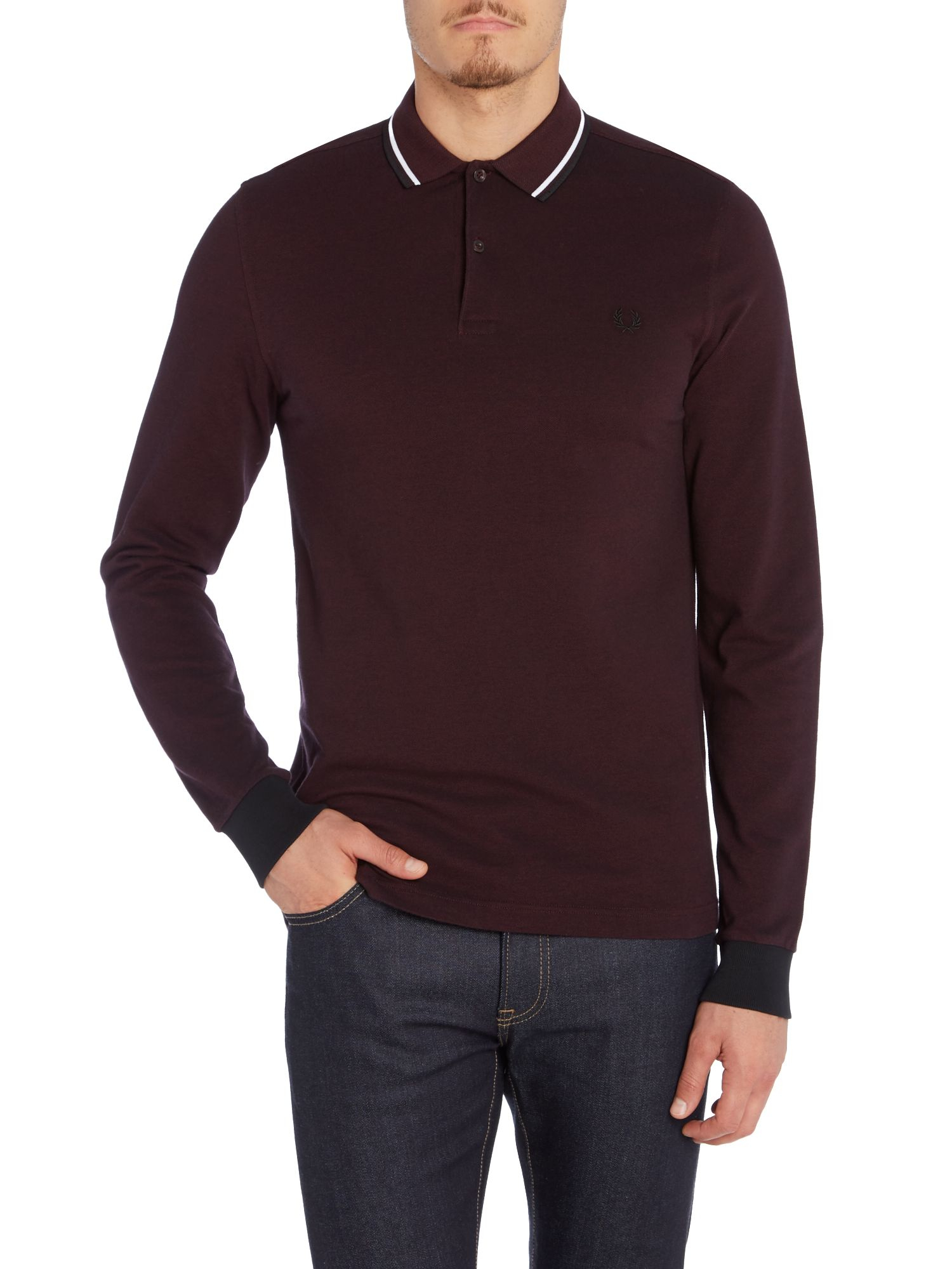 Fred perry long sleeve twin tipped polo shirt in purple for Long sleeve purple polo shirt