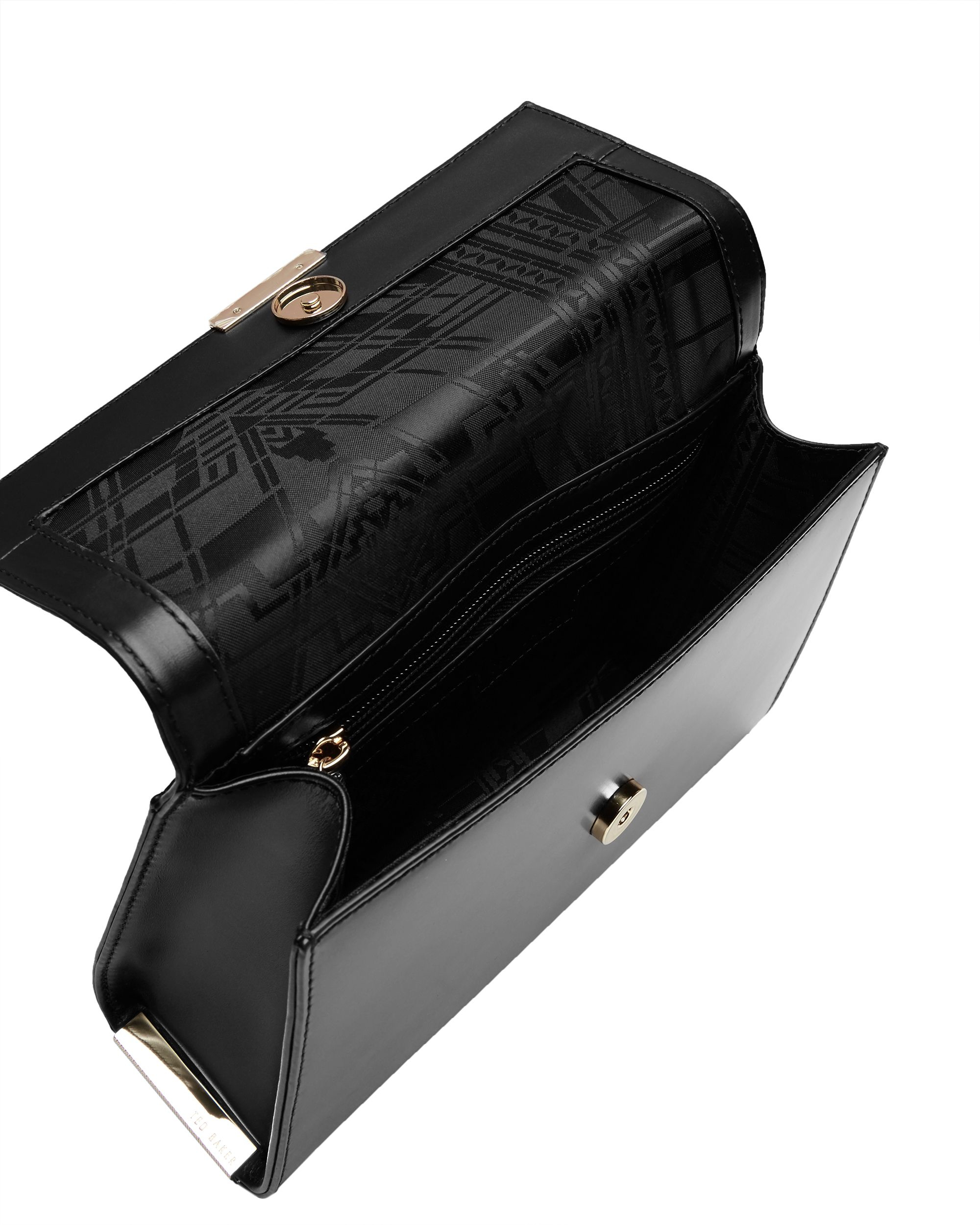 Ted Baker Leather Lotte Exotic Panel Cross Body Bag in Black