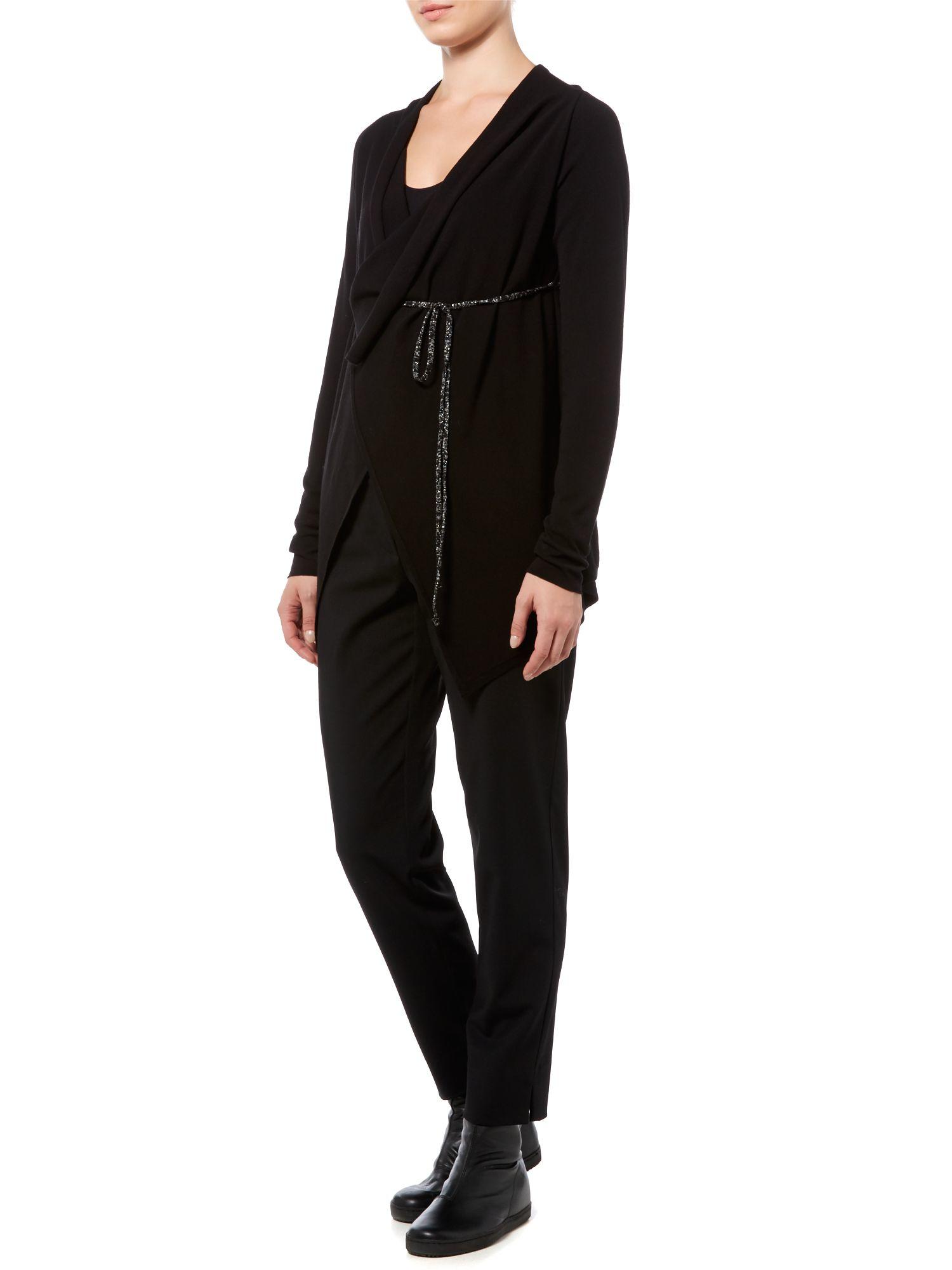 Sarah Pacini Synthetic V Neck Long Cardigan in Black