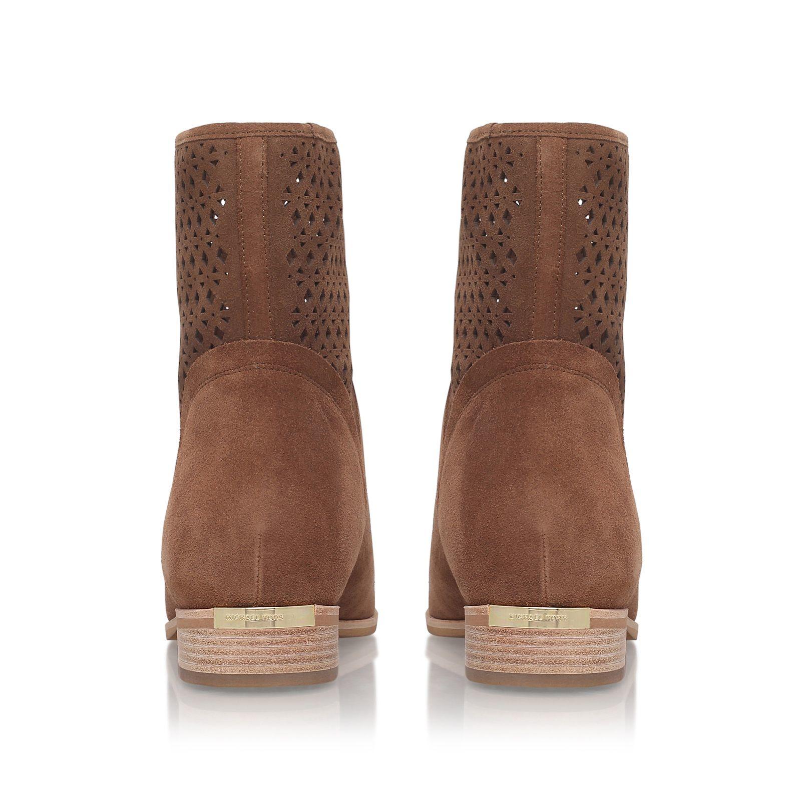 Michael Kors Leather Sunny Low Heel Biker Boots in Brown