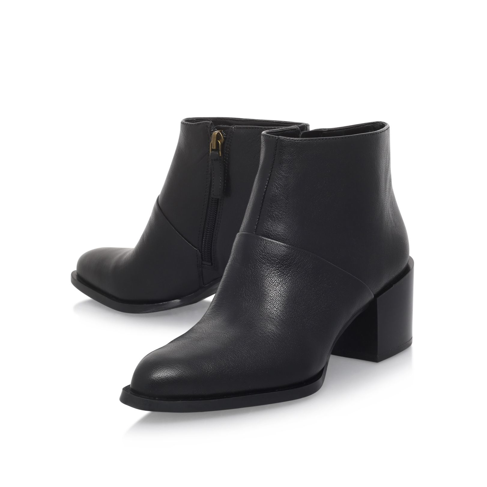 Nine West Leather Entity Mid Heel Ankle Boots in Black