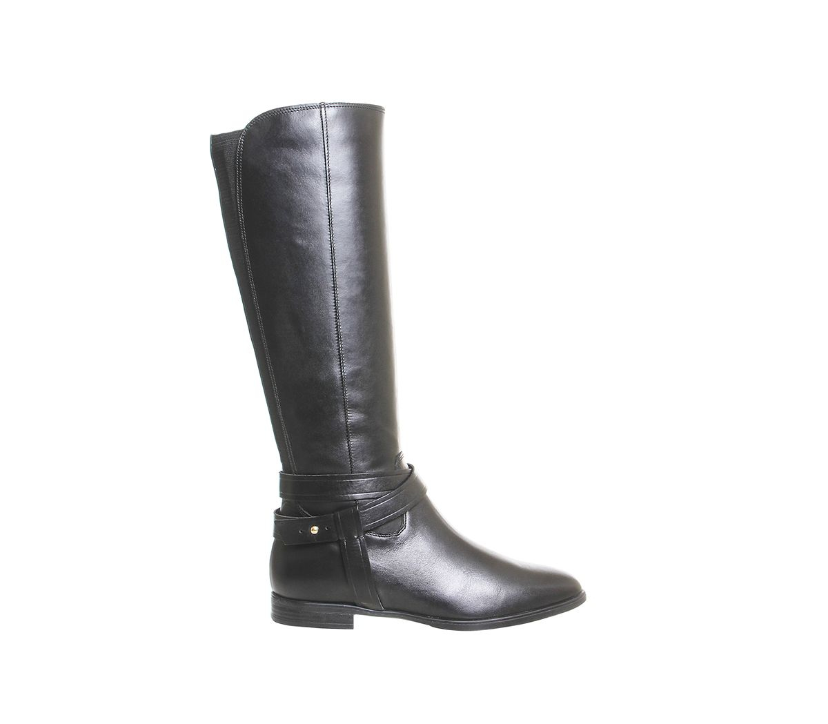 Office Leather Kingdom Cross Strap Rider Boots in Black Leather (Black)