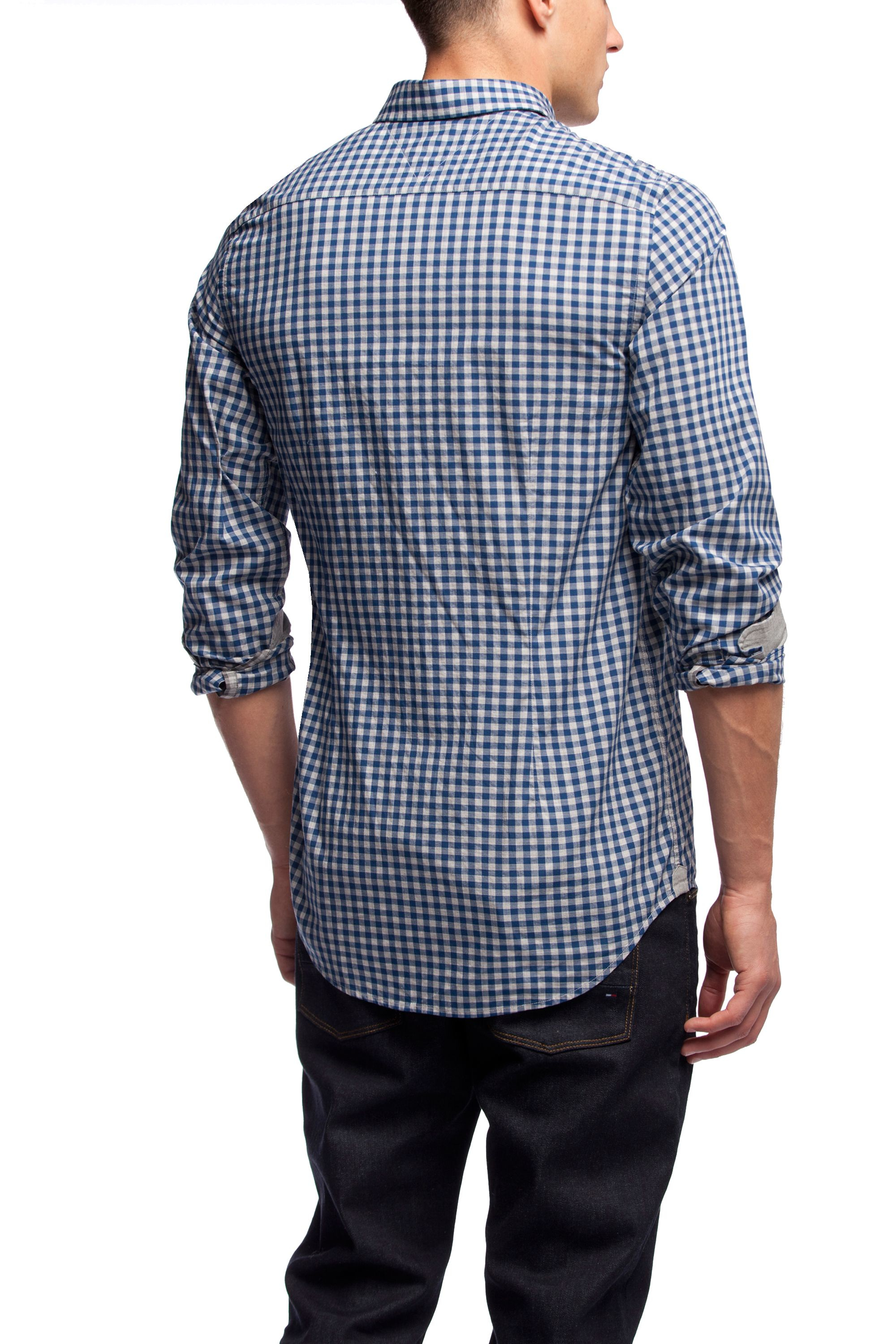 Lyst tommy hilfiger gingham print shirt in blue for men for Tommy hilfiger gingham dress shirt