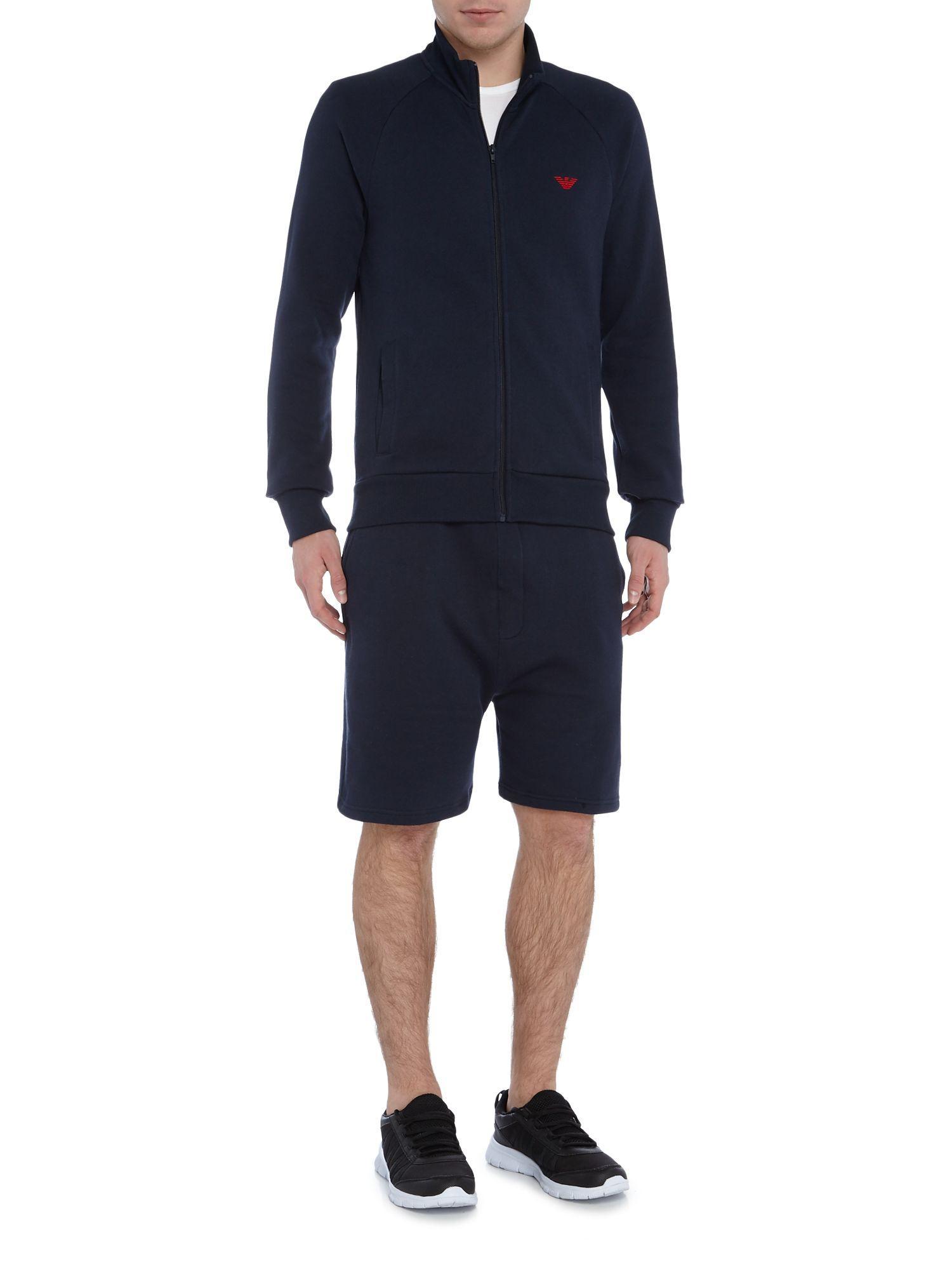Emporio Armani Cotton Drawstring Loungewear Shorts In Blue