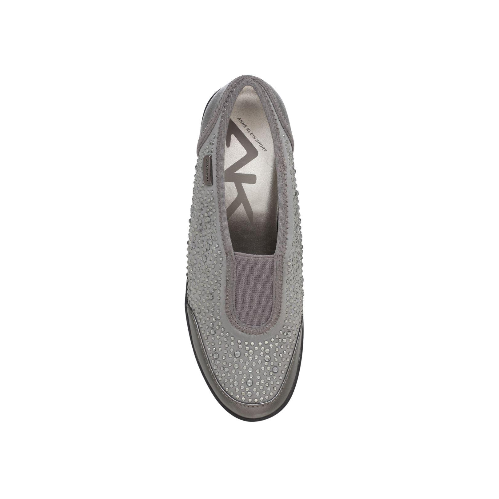 Anne Klein Synthetic Yarmilla Flat Lace Up Sneakers in Light Grey (Black)