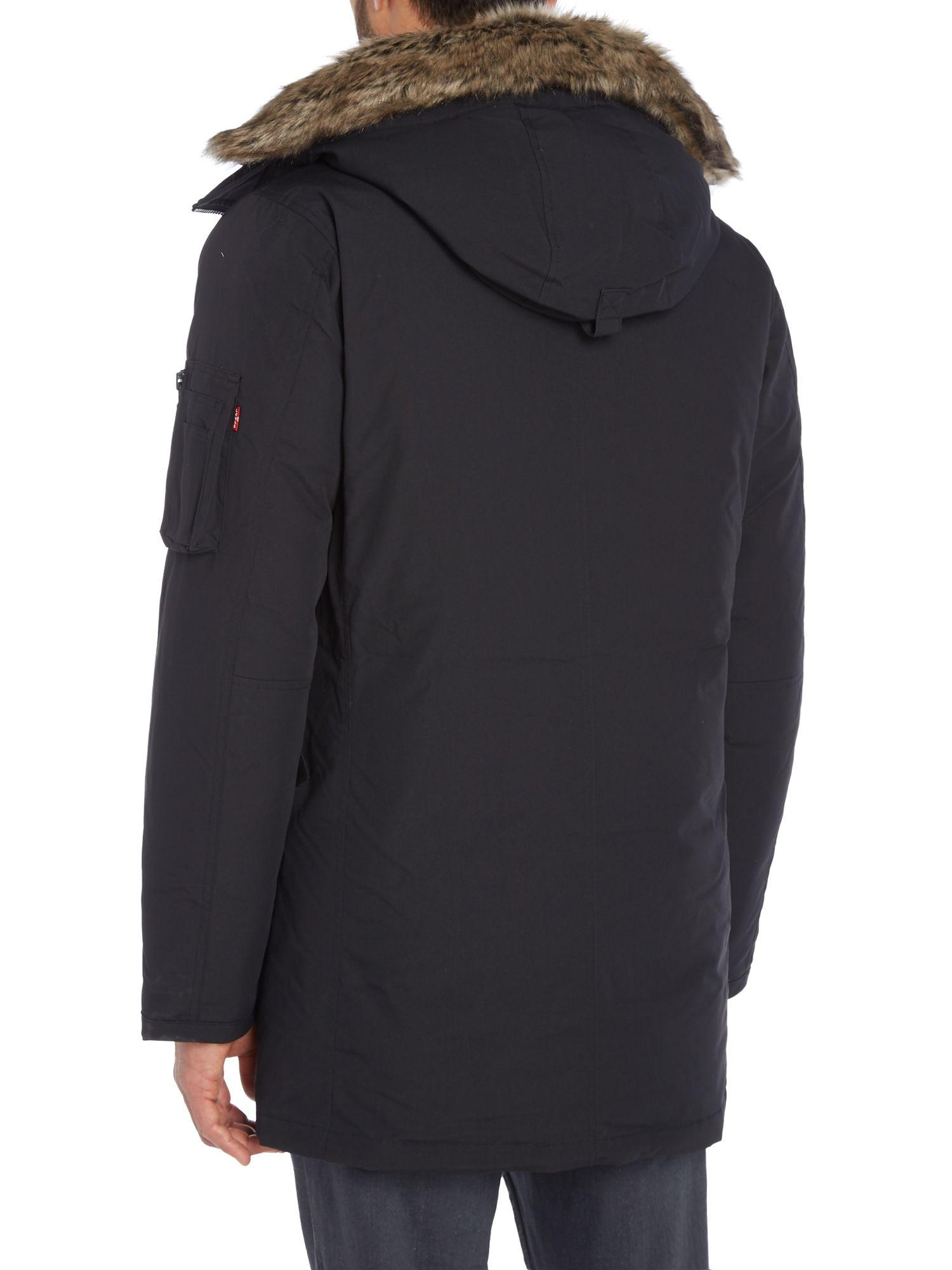 Lyst Levi S Davidson Down Parker Jacket In Black For Men