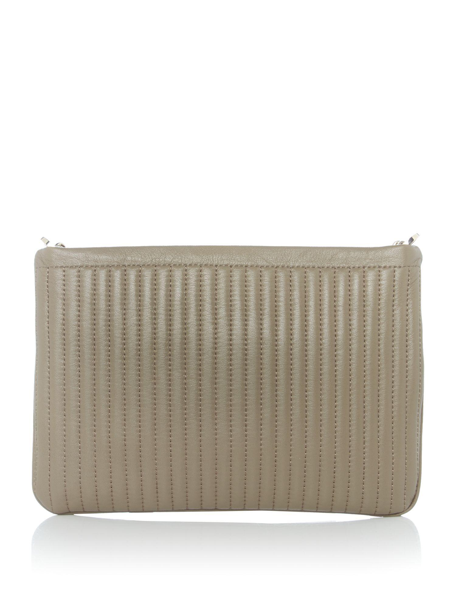 DKNY Leather Pinstripe Small Crossbody Bag in Taupe (Brown)