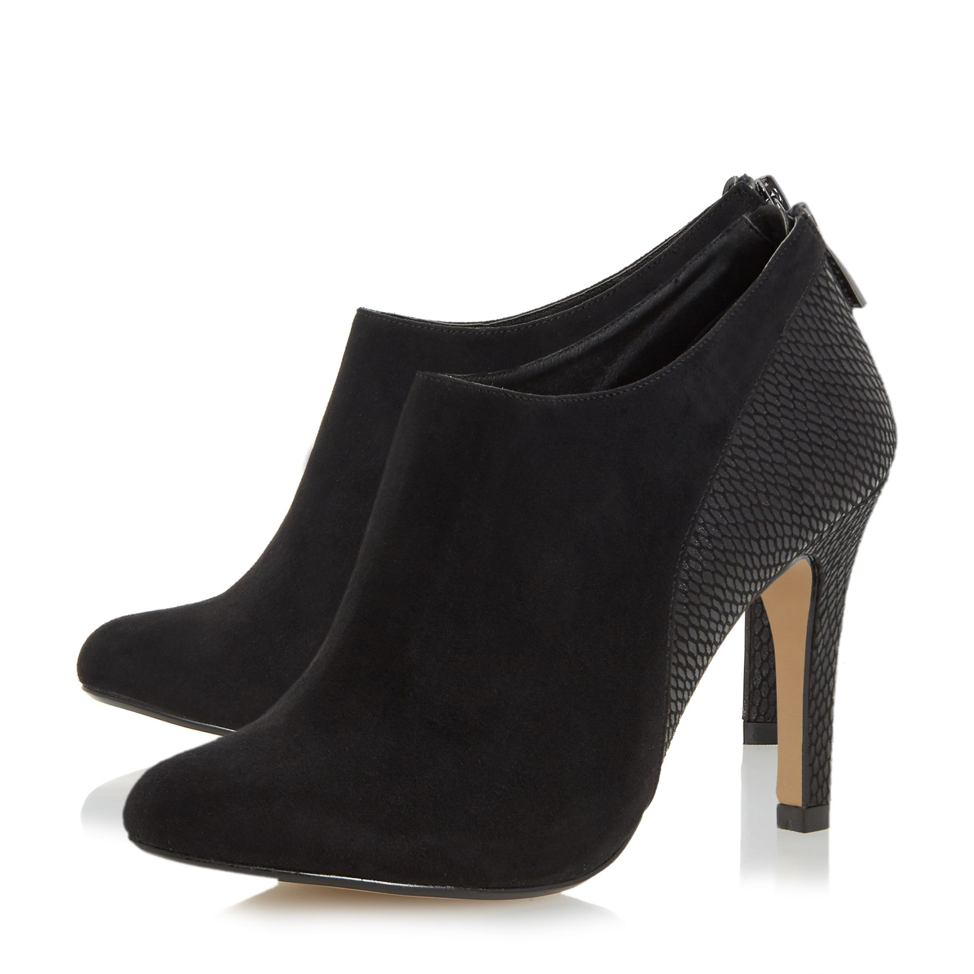 Dune Opera Mixed Material Heeled Ankle Boots in Black (Natural)