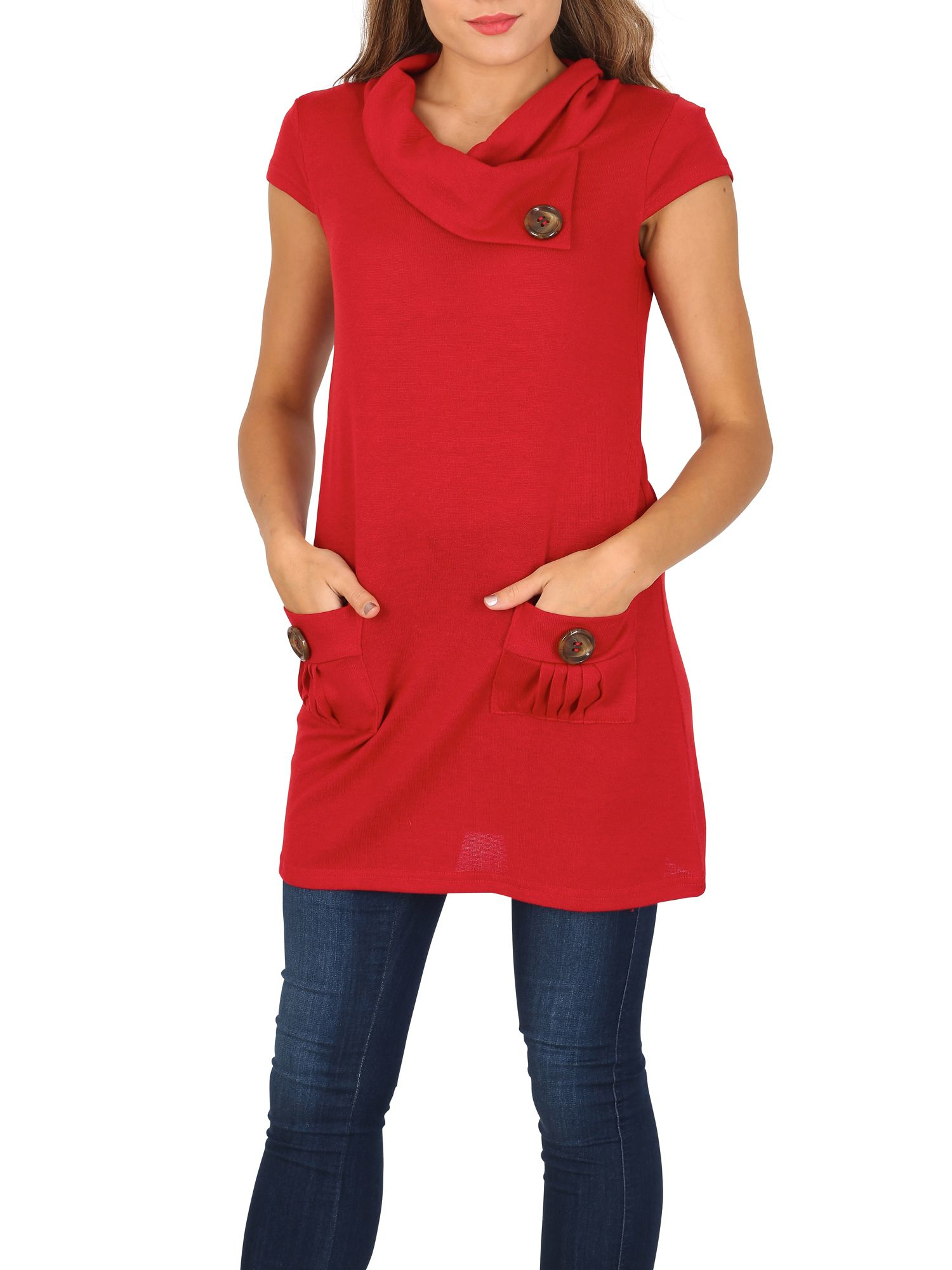Izabel London Synthetic Tunic Top With Oversized Buttons in Red