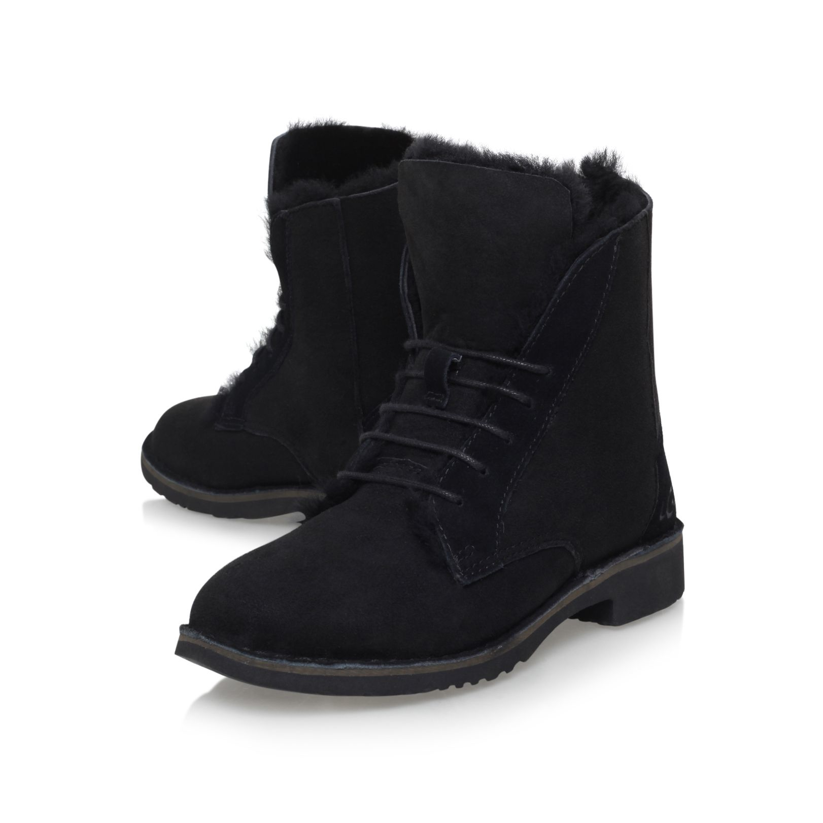 UGG Suede Quincy Flat Ankle Boots in Black