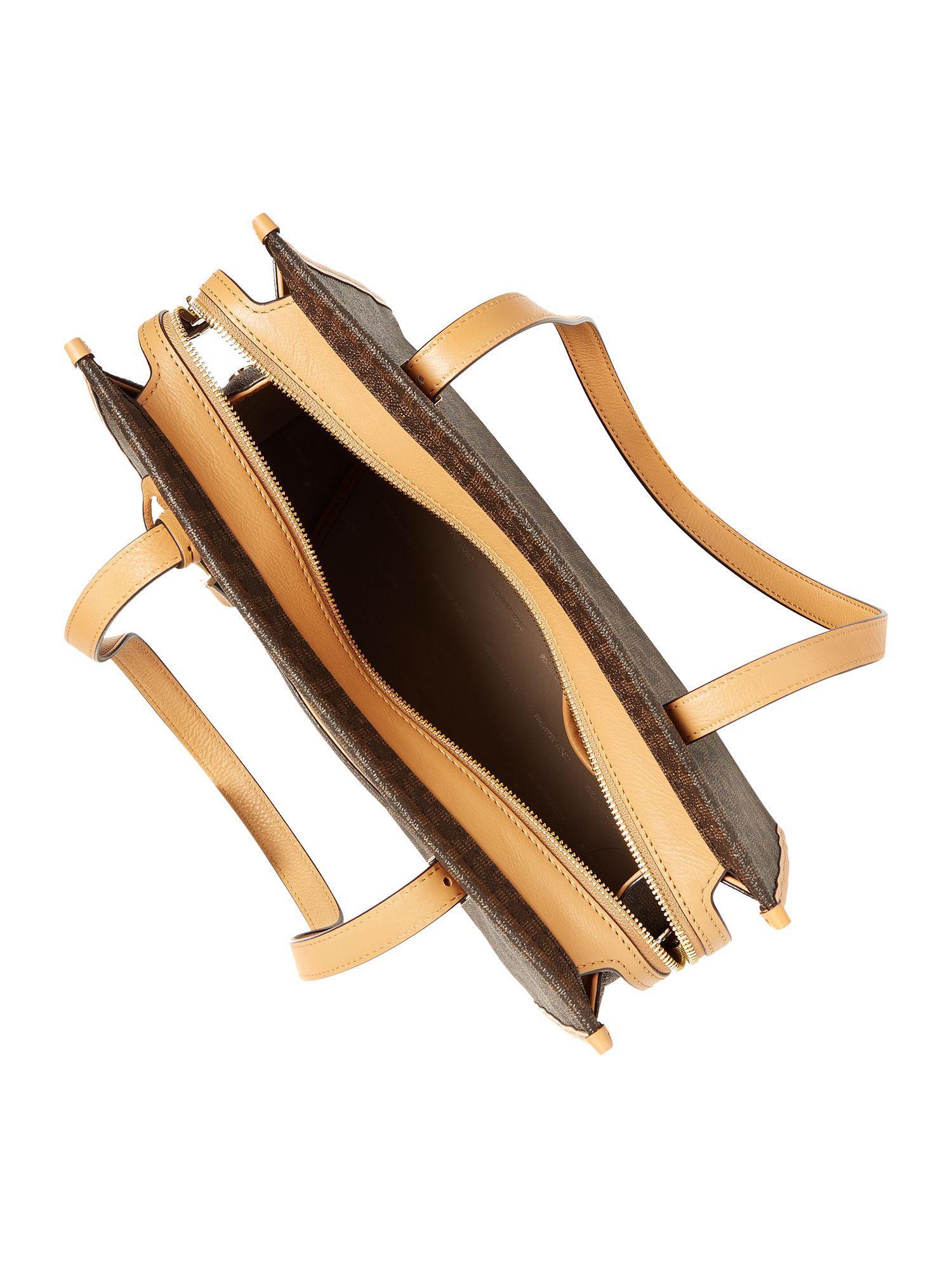 Michael Kors Synthetic Darien Signature Print Medium Tote Bag in Brown