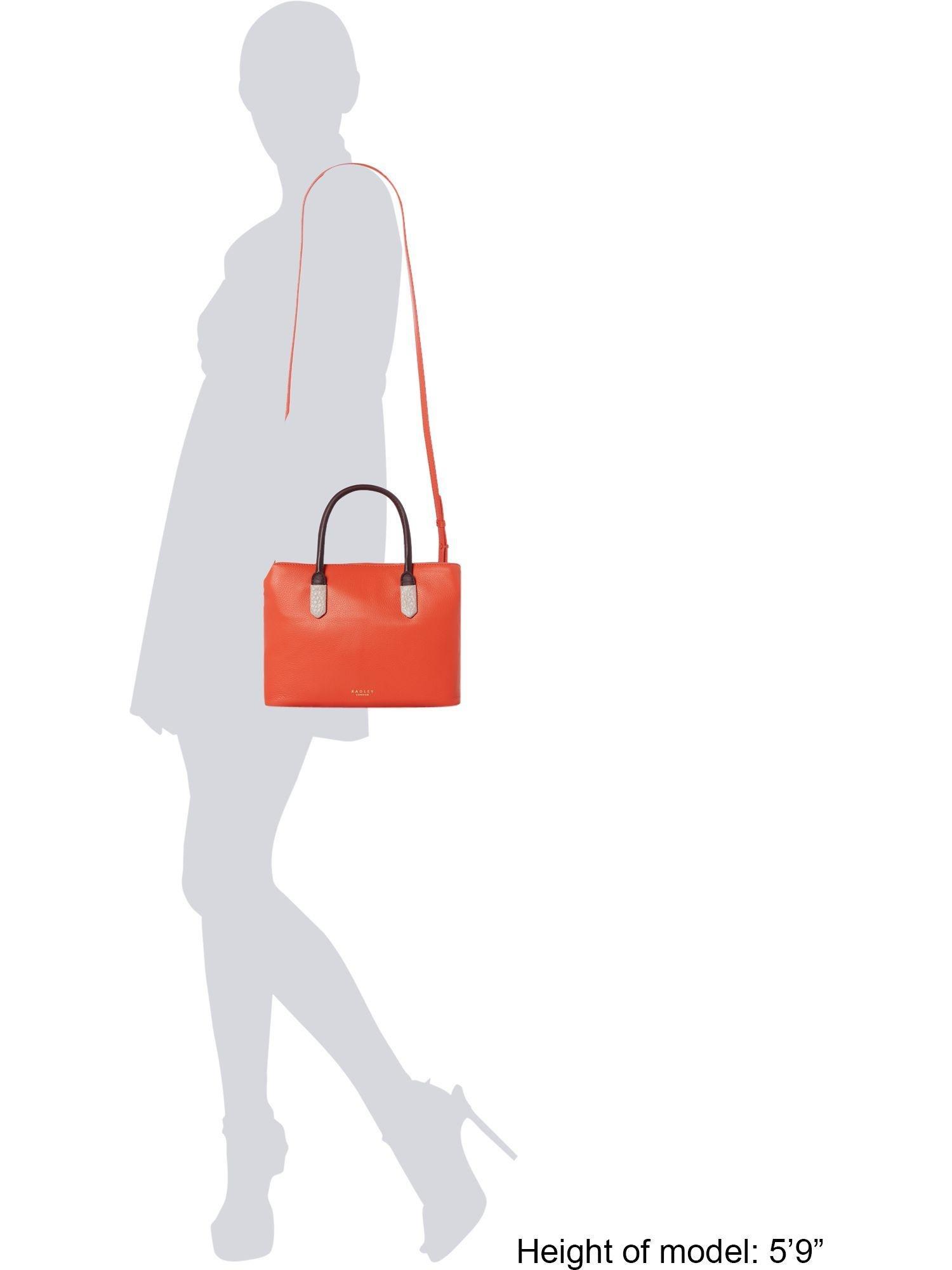 Radley Leather Med Multi Compartment Multiway Tote Bag in Orange