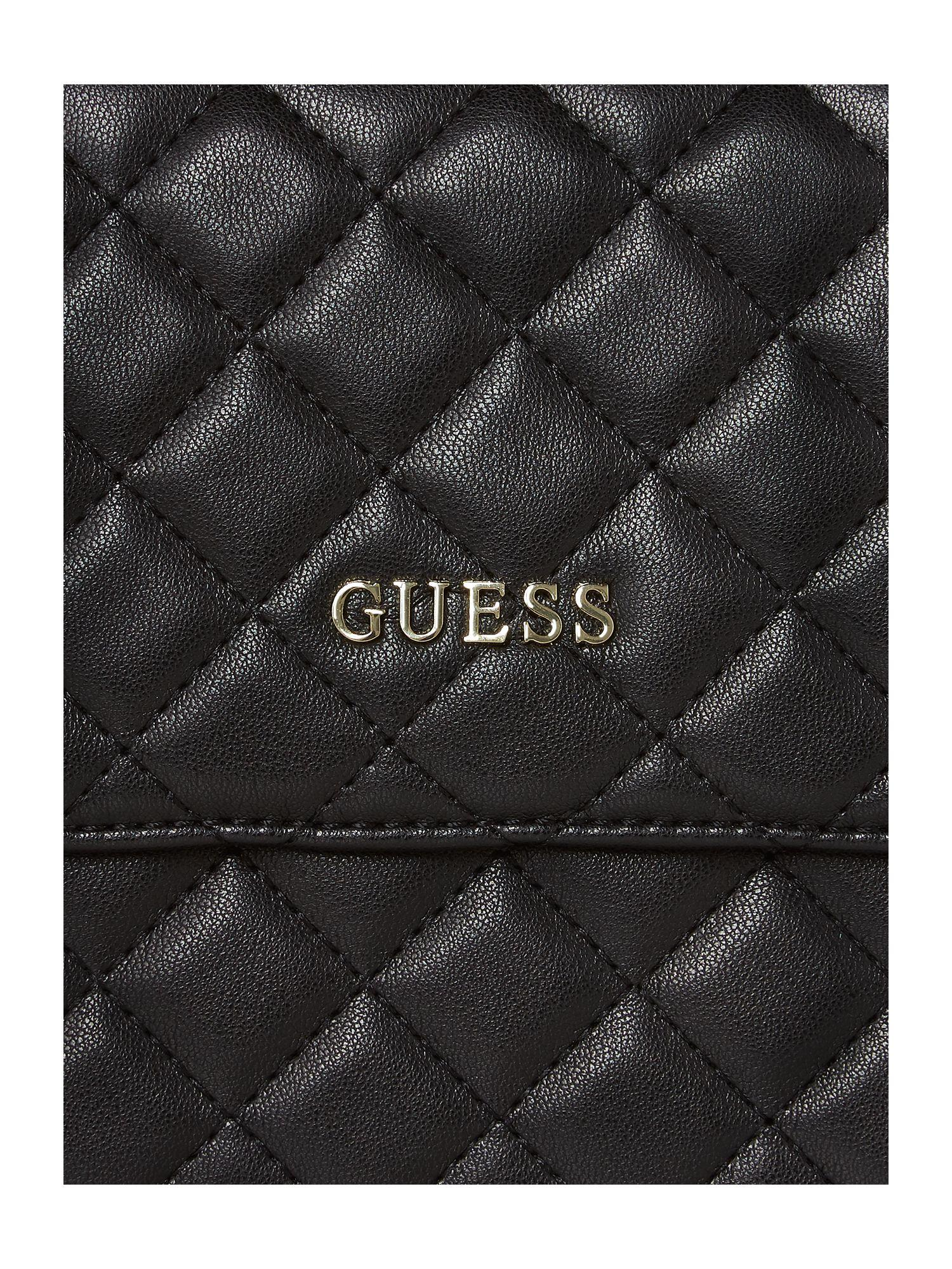 Guess Alanis Quilt Flapover Cross Body Bag in Black
