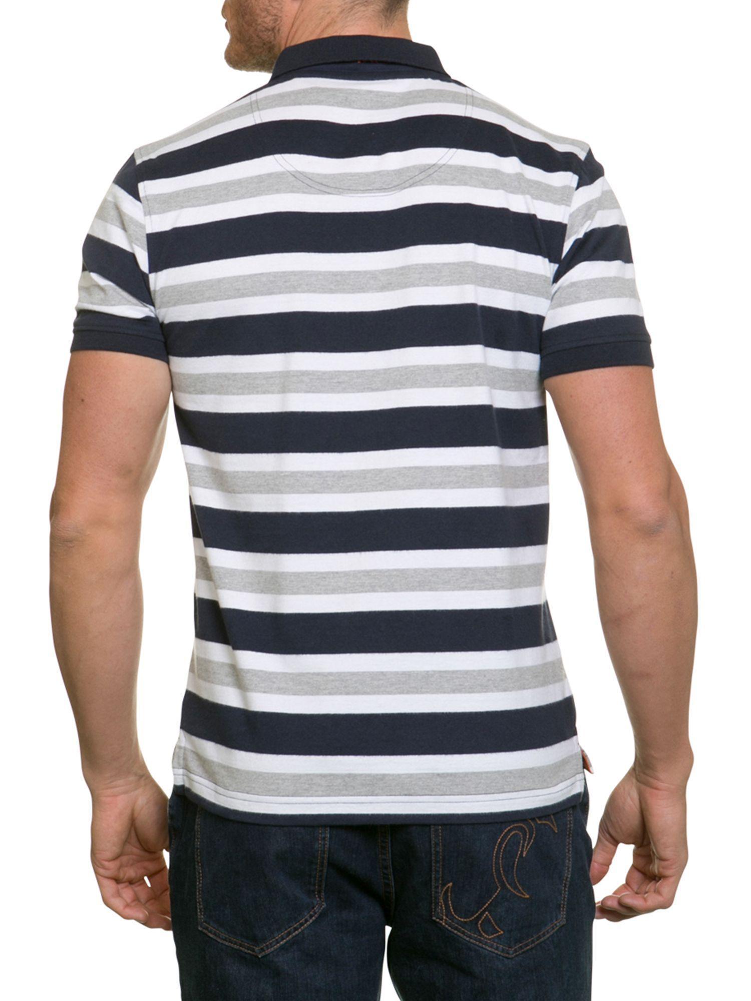 Raging Bull Cotton Big & Tall Multi Stripe Jersey Polo for Men