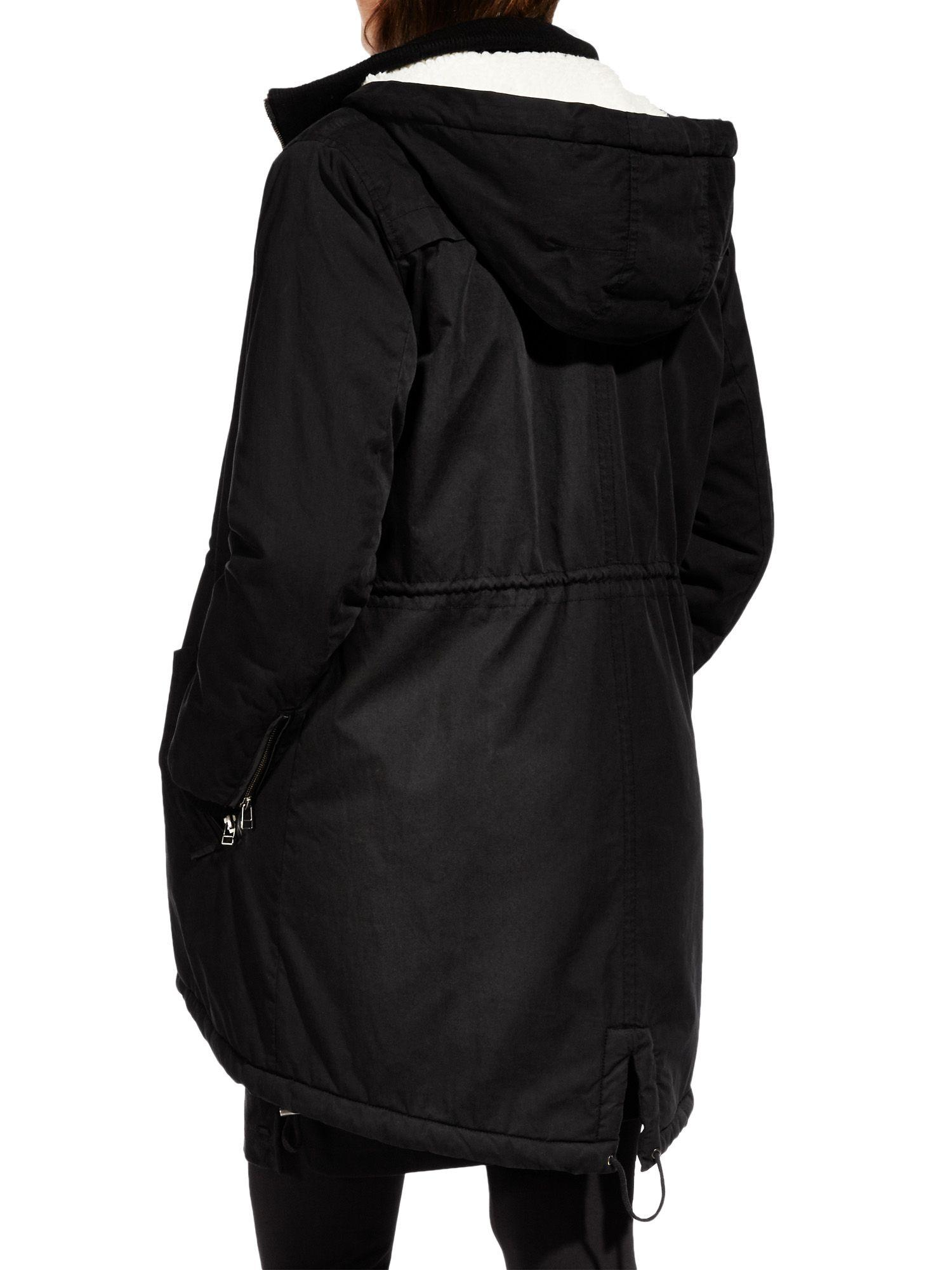 Sandwich Faux Fur Lined Parka in Black