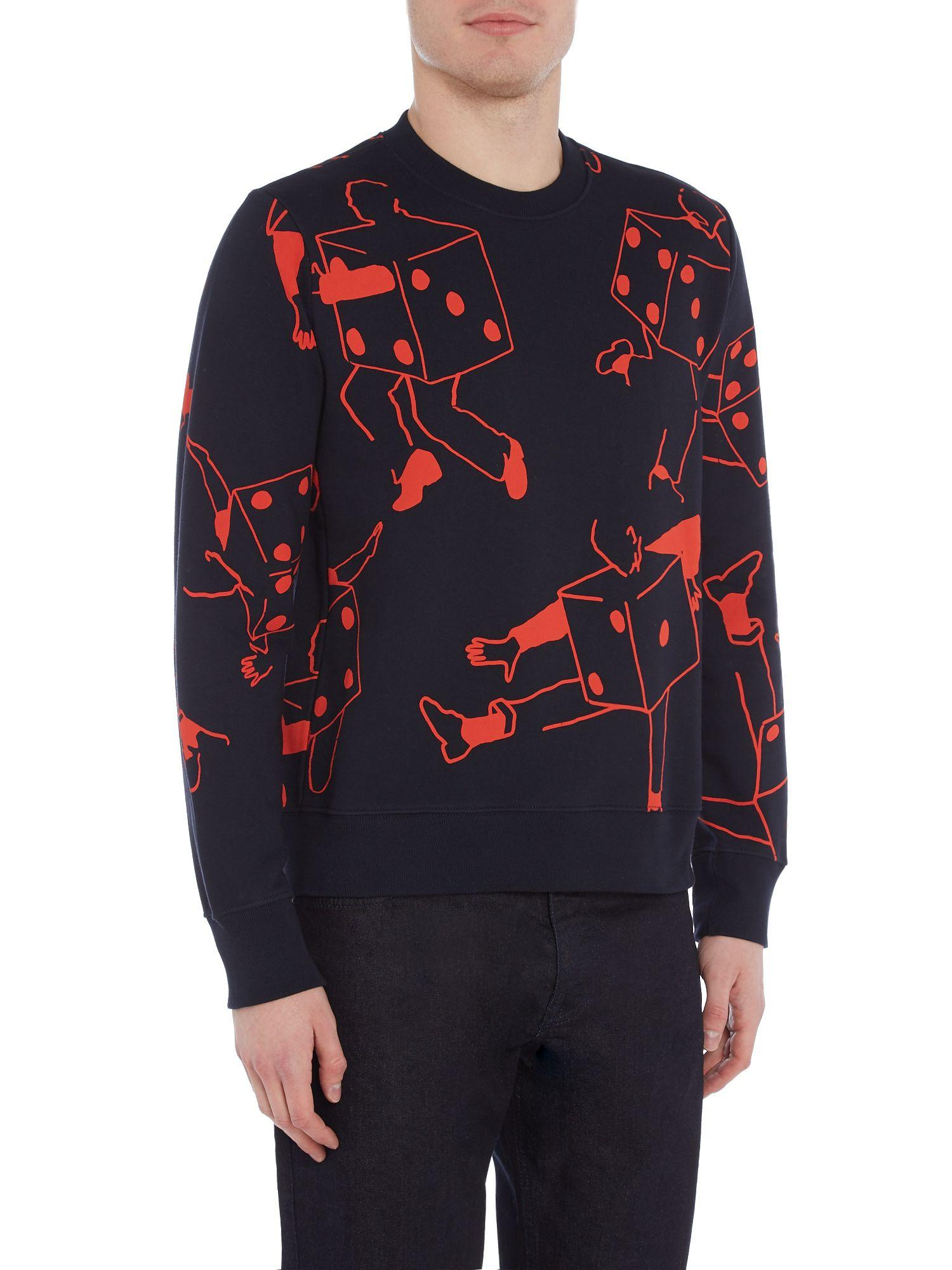 PS by Paul Smith Cotton All-over Dice Men Printed Sweat in Navy (Blue) for Men