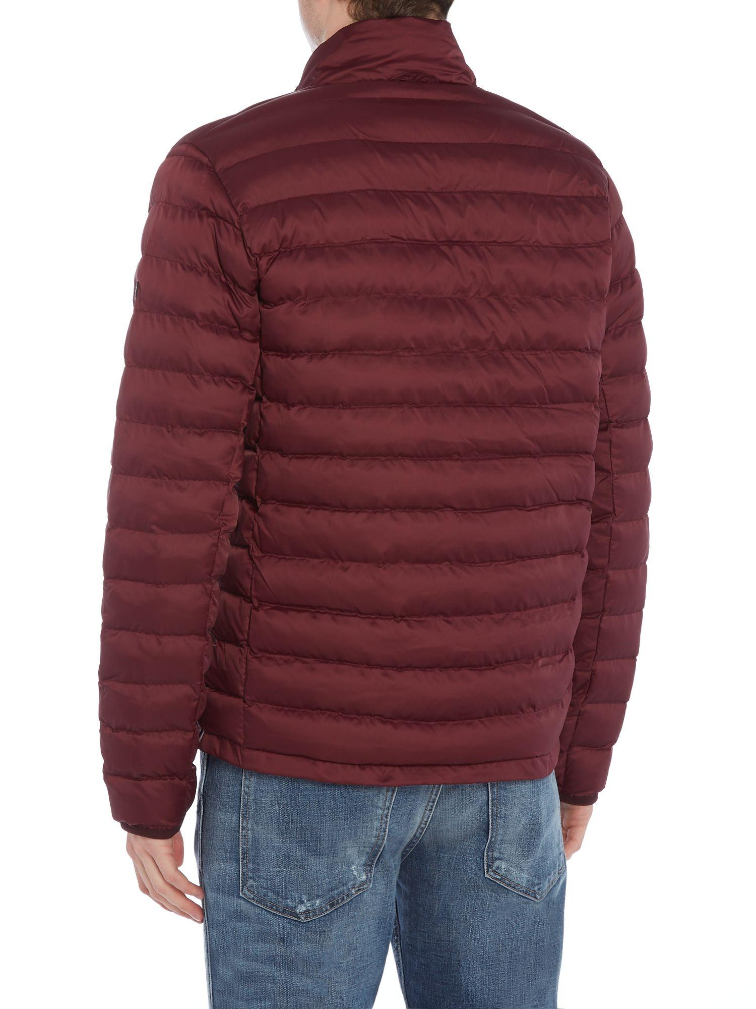 Barbour baffle quilted jacket in red for men lyst for Quilted jackets for men