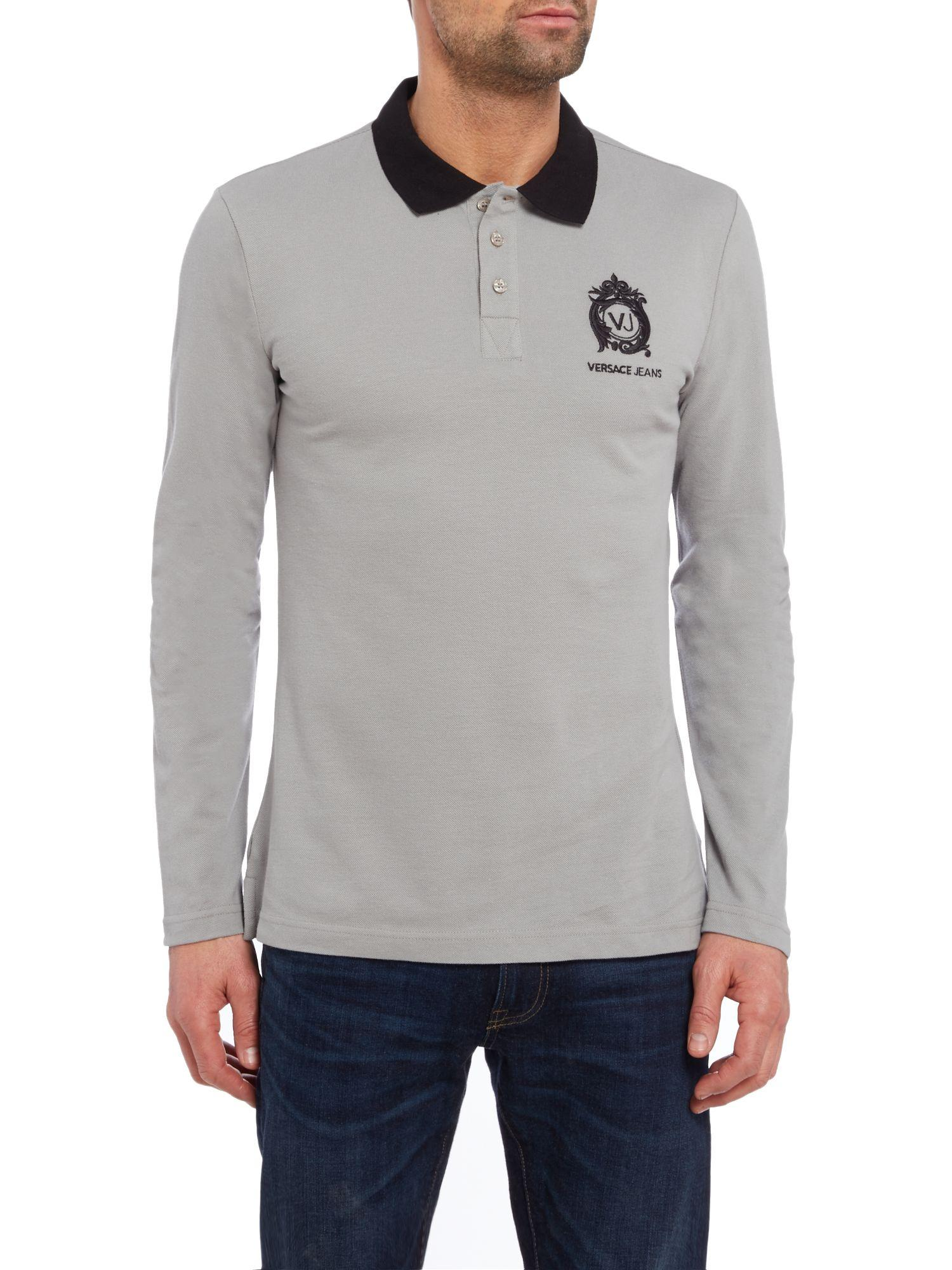 Versace Jeans Couture Denim Regular Fit Embroidered Logo Long Sleeve Polo in Grey (Grey) for Men