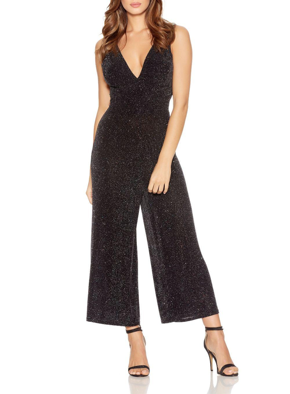 Lyst Quiz Black Glitter Culotte Jumpsuit In Black