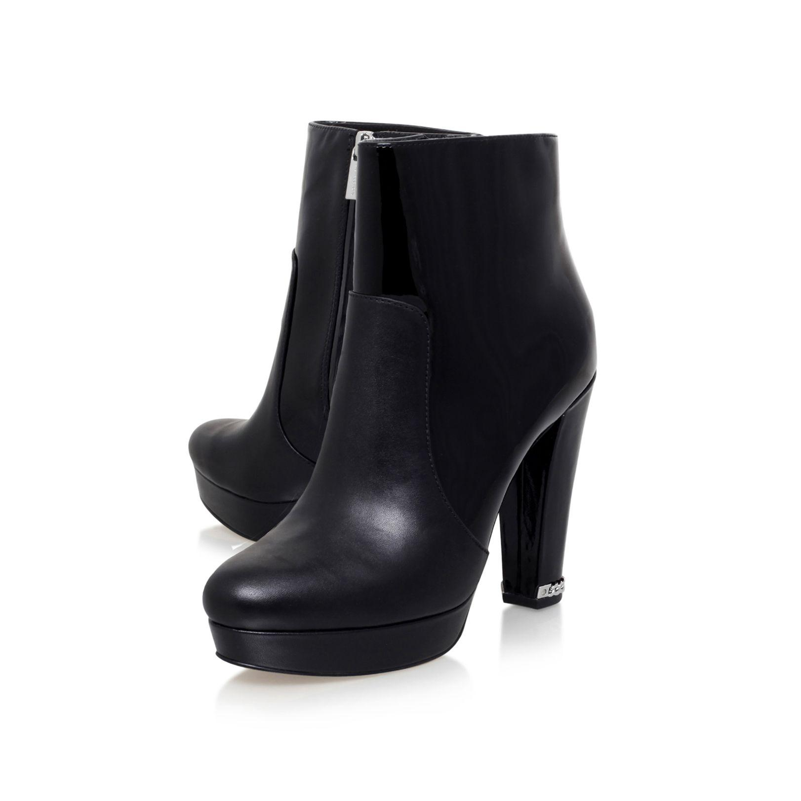 Michael Kors Leather Sabrina High Heel Ankle Boots in Black