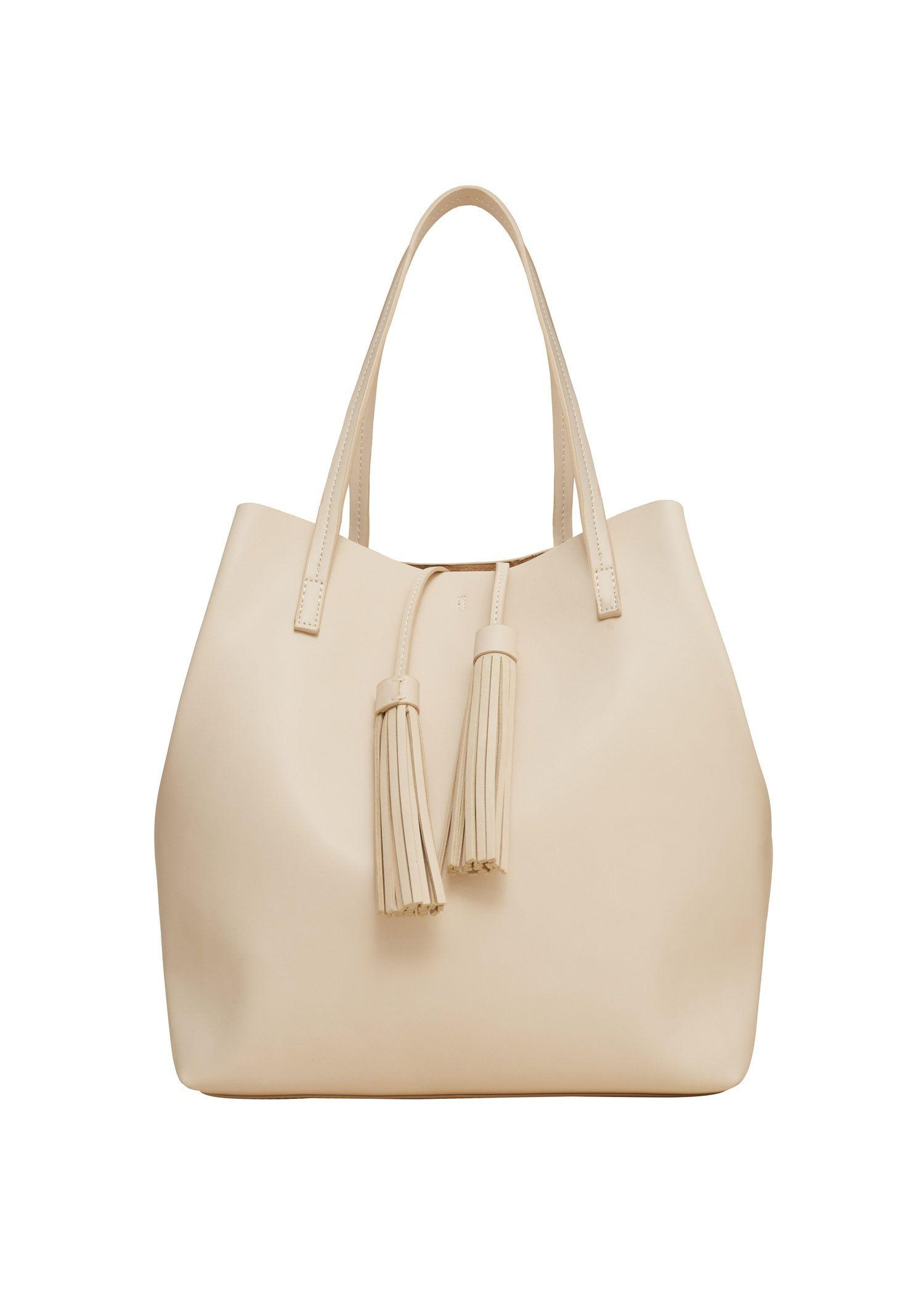 Brilliant Saffianoeffect Tote Bag  Women  MANGO USA
