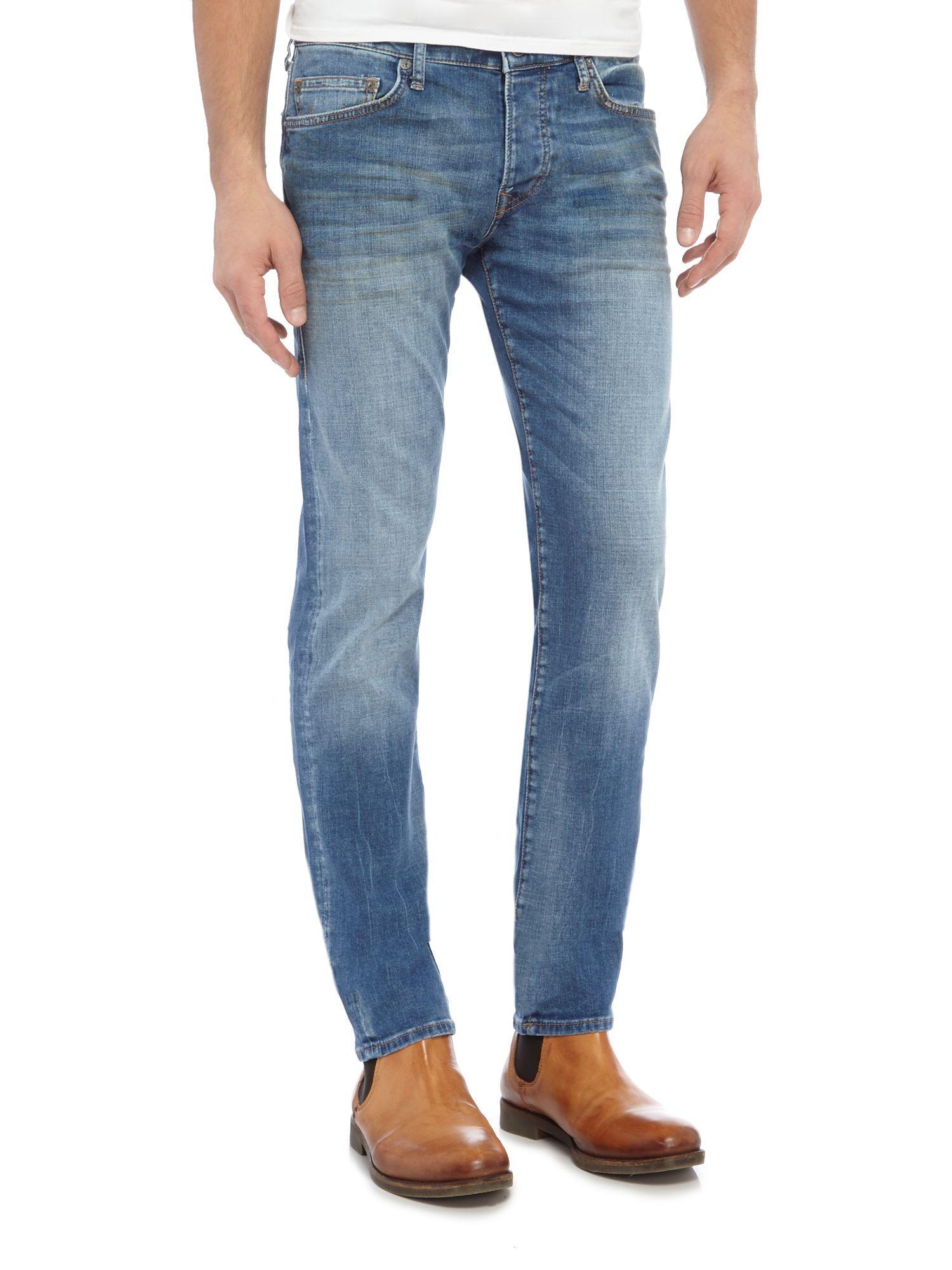 True Religion Denim Rocco Slim Fit Light Wash Jeans in Denim Light Wash (Blue) for Men