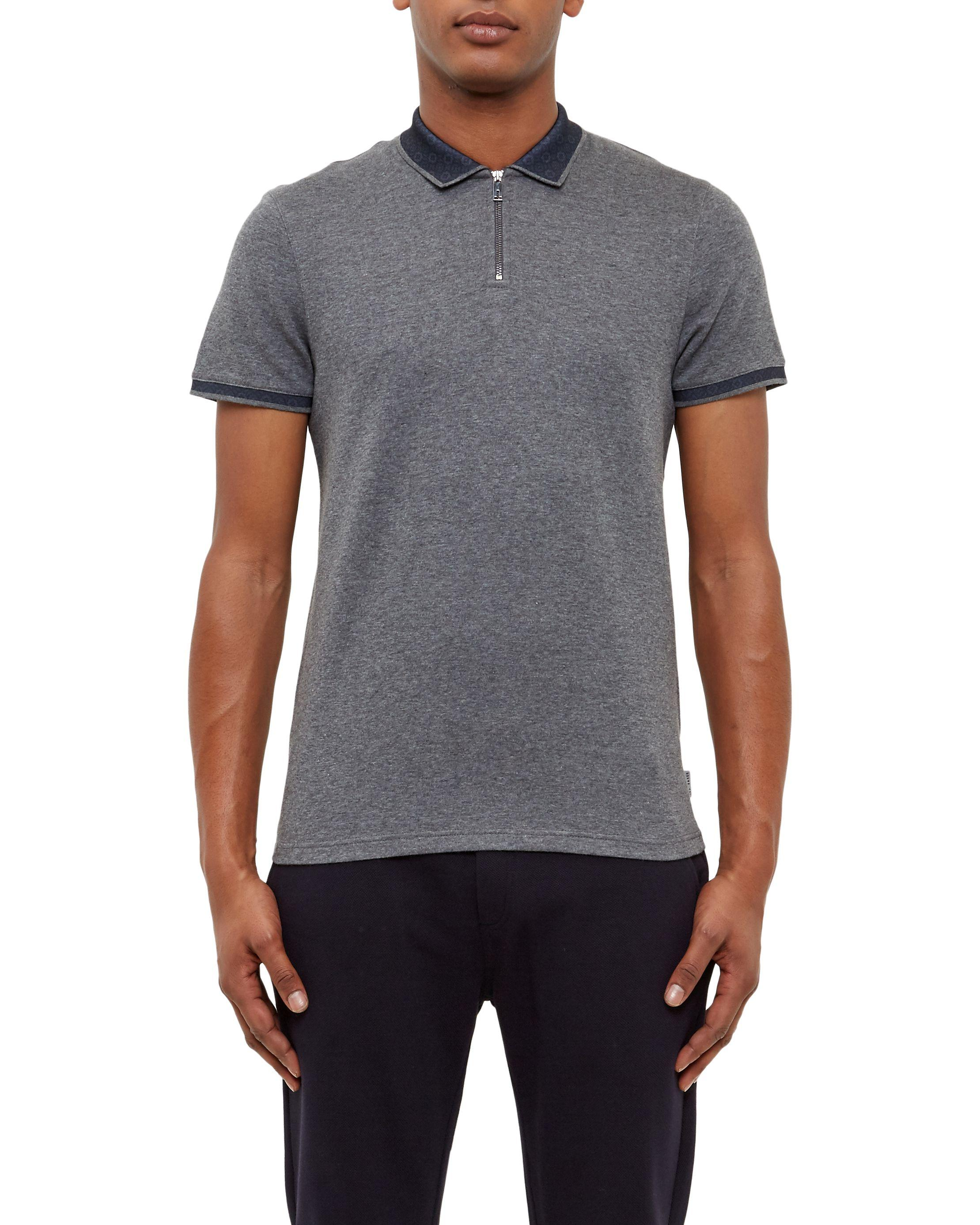 Ted baker zeno zip front polo shirt in gray for men lyst for Ted baker mens polo shirts