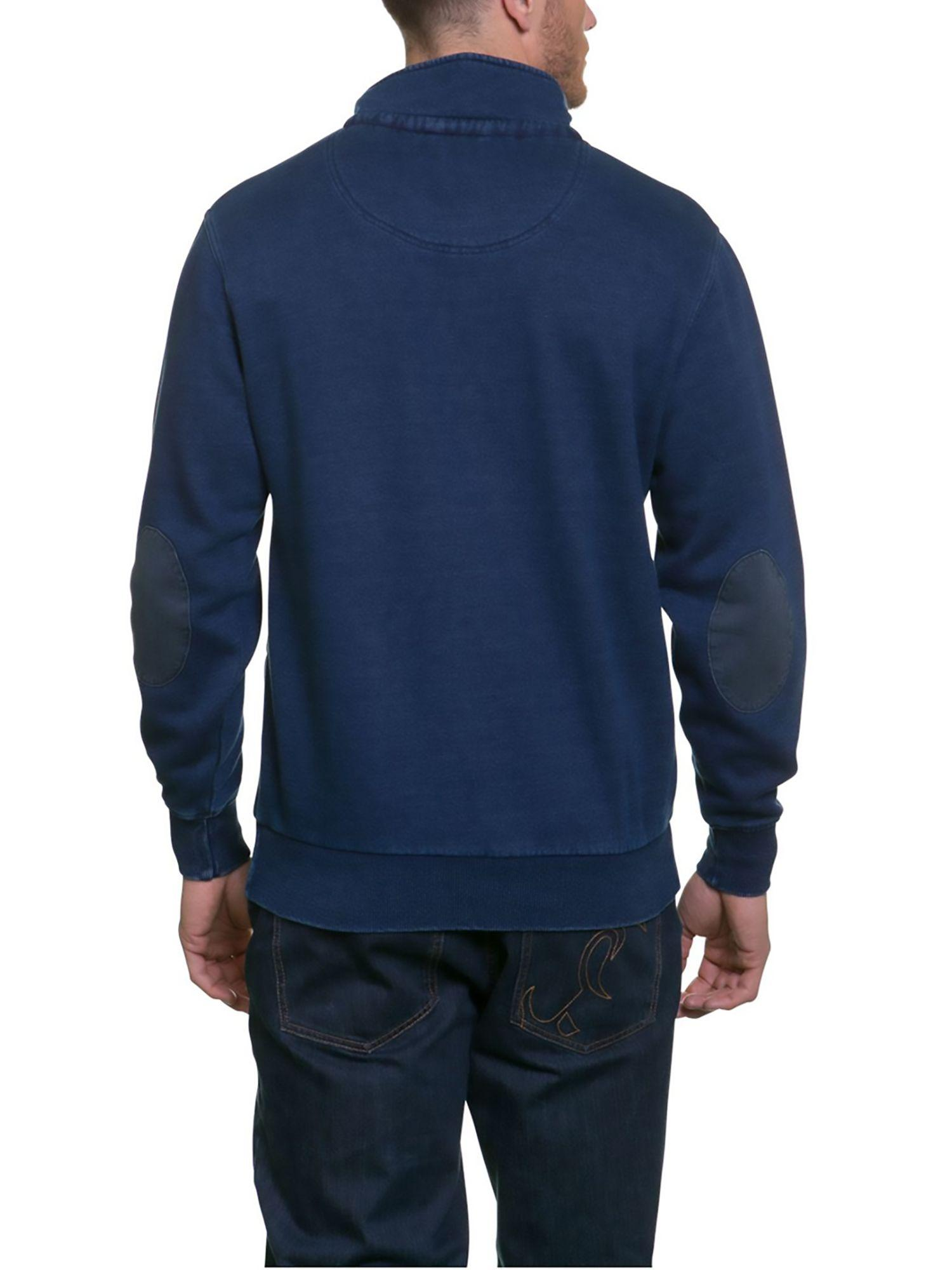 Raging Bull Cotton Indigo Funnel Neck Sweater in Blue for Men