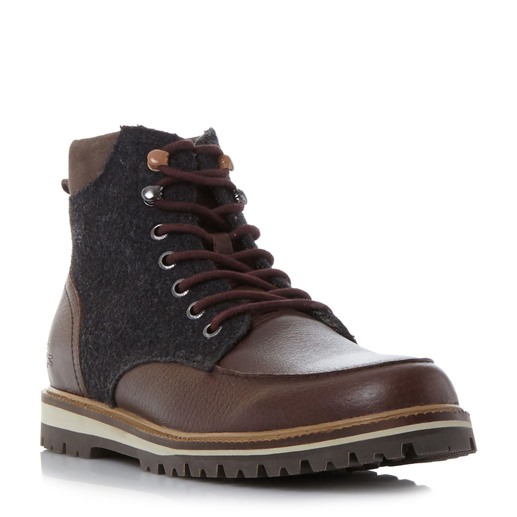 lacoste montbard boot apron detail lace up boots in brown