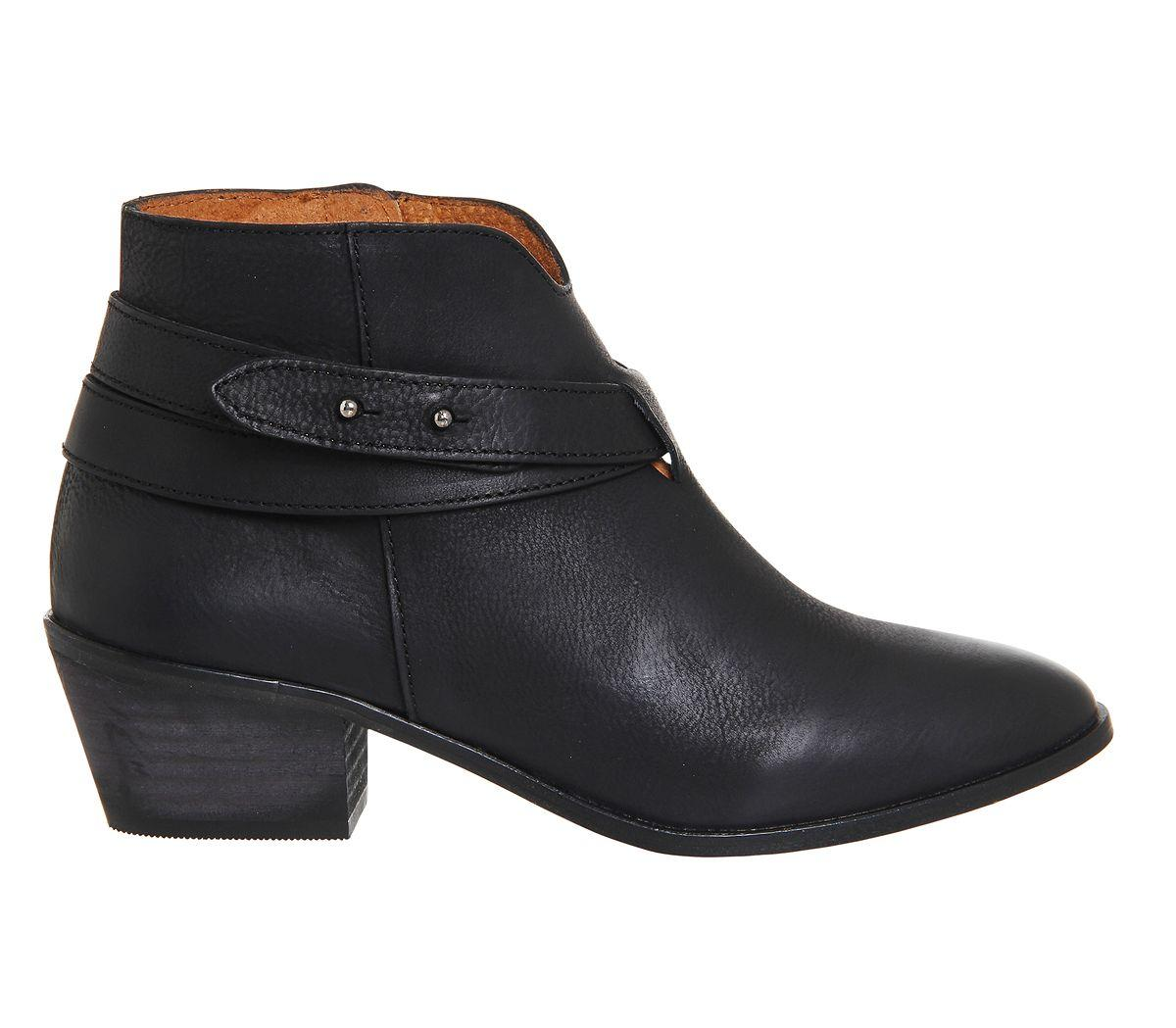Office Leather Loyal Strap Detail Boots in Black Leather (Black)
