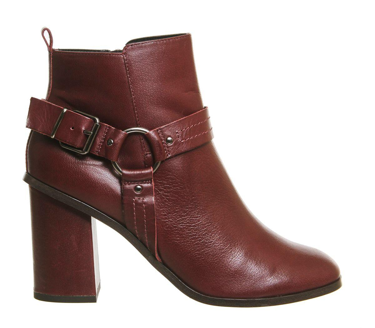 Office Leather Lana Smart Harness Boots in Burgundy (Brown)