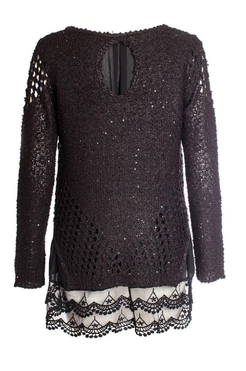 Knitting Quiz Uk : Lyst quiz black sequin knit lace hem jumper in