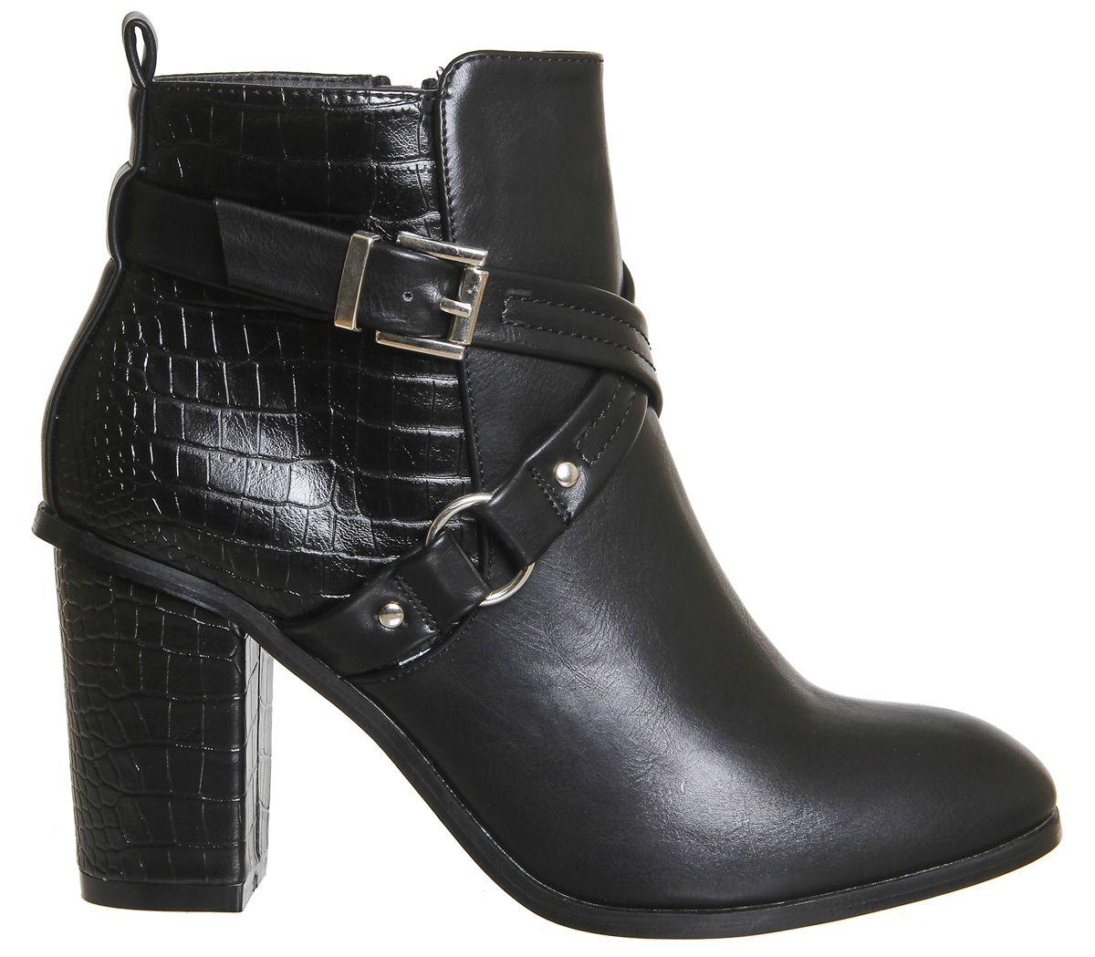 Office Synthetic Lorna Strap Detail Boot in Black