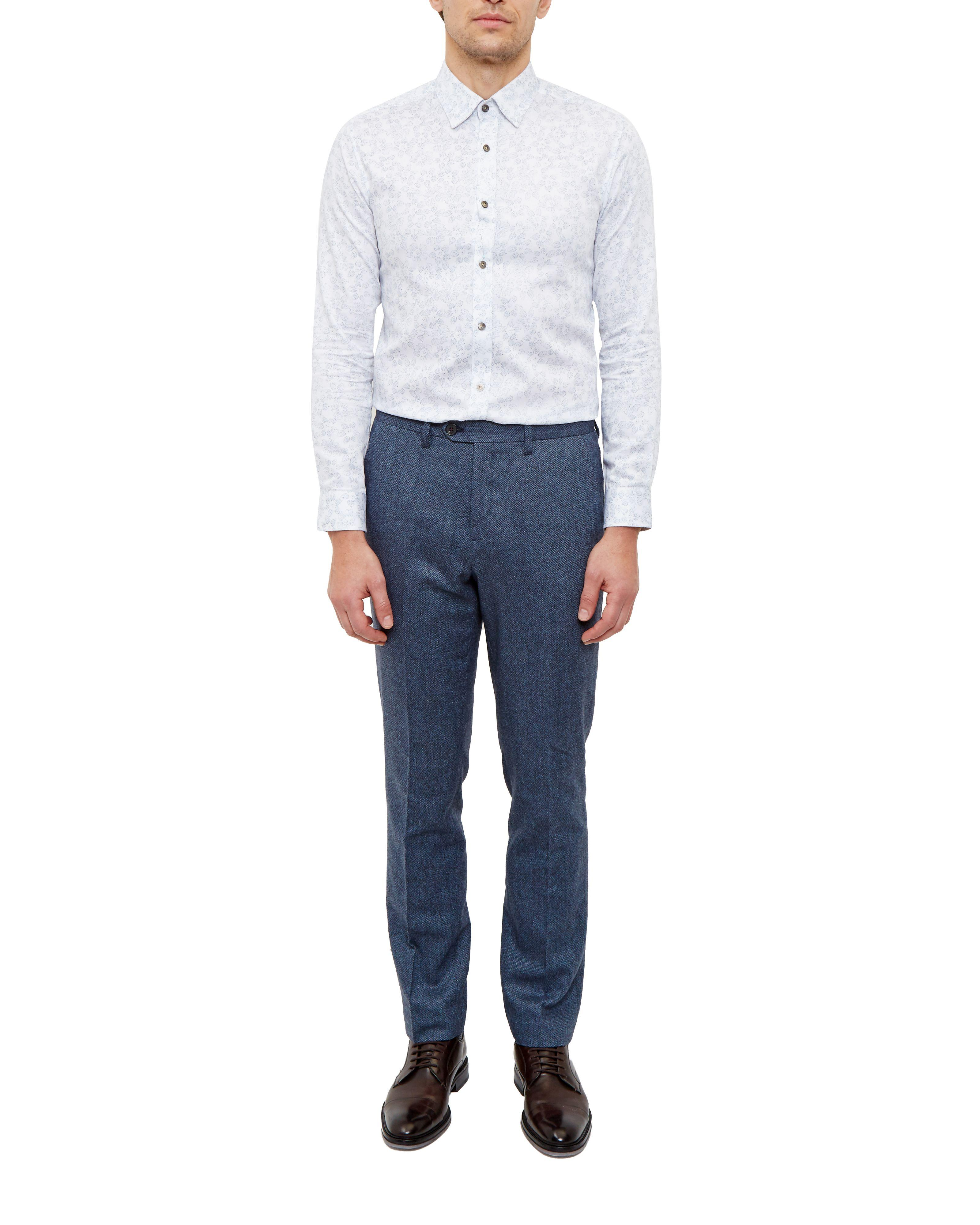 Ted Baker Cramtro Herringbone Wool Trousers in Blue for Men
