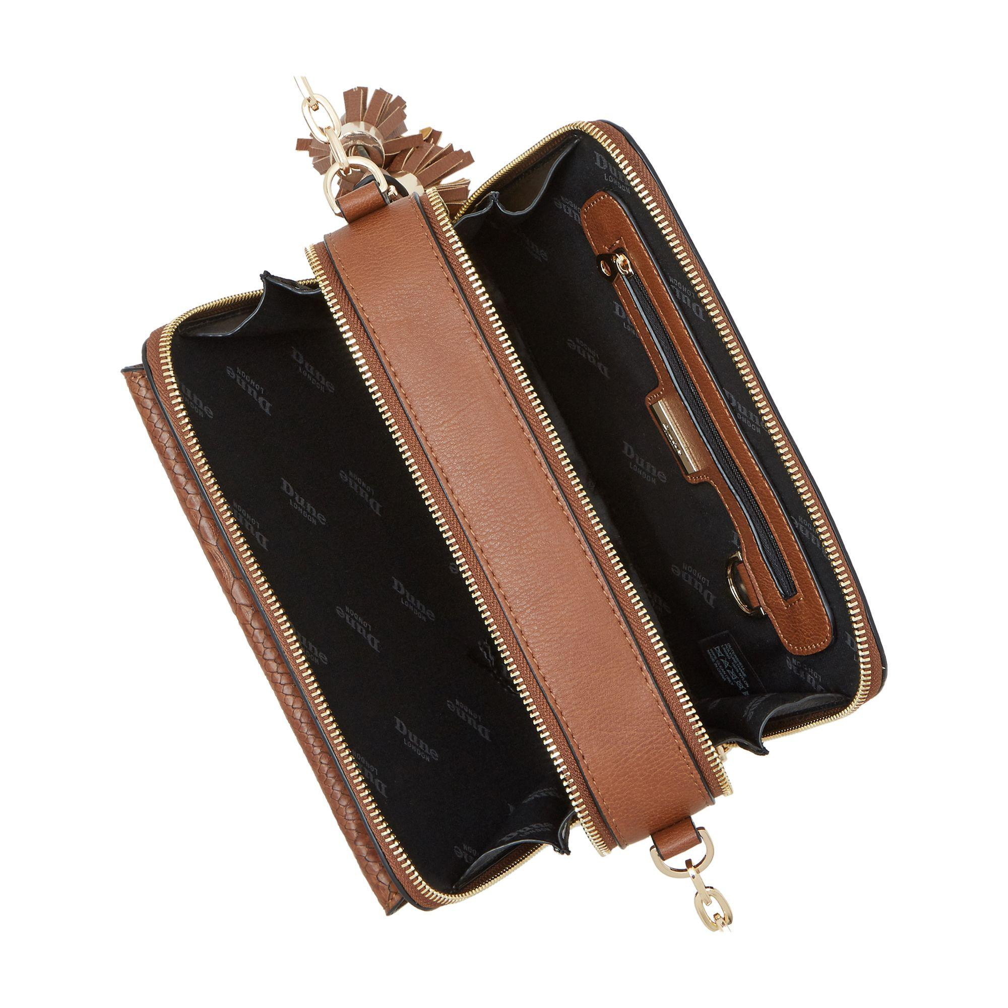 Dune Synthetic Dottie Chain Crossbody Envelope Bag in Tan (Brown)