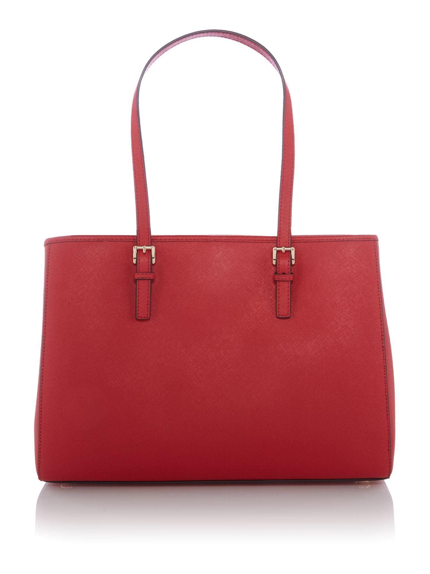 Michael Kors Leather Jetset Travel Tote in Red