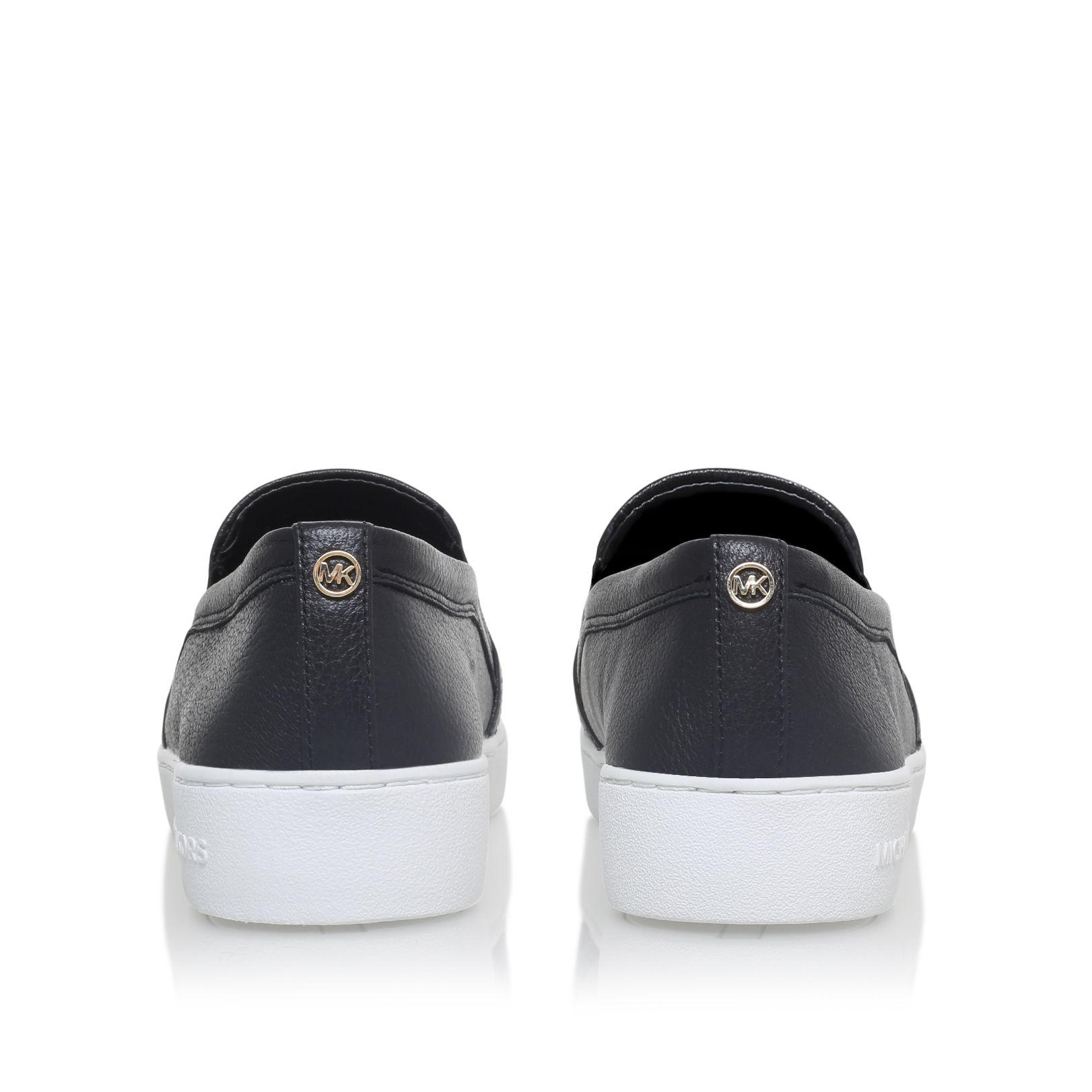 Michael Kors Leather Leo Slip On Sneakers in Black