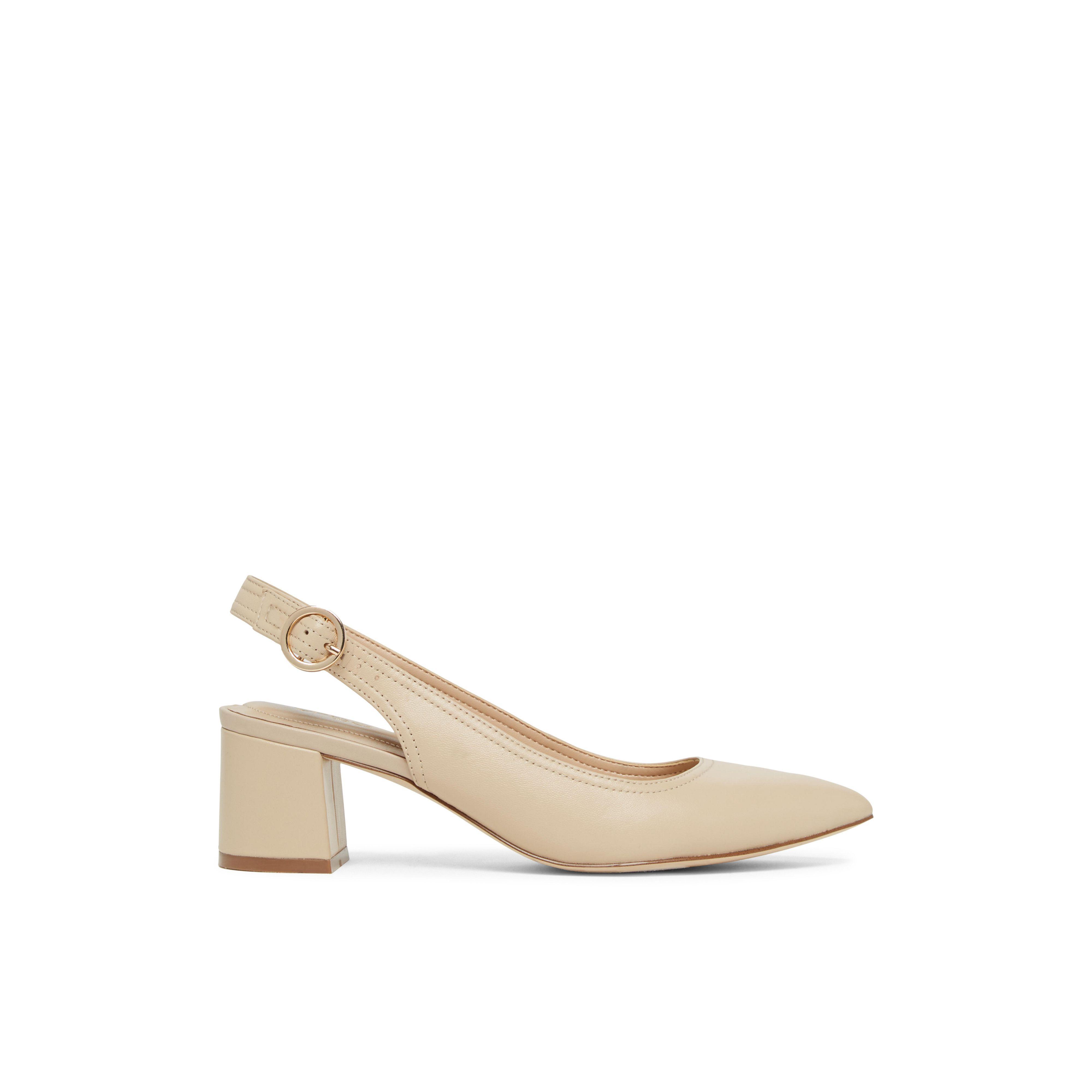 Aldo Leather Hayzel Slingback Low Block Heel Shoe In Beige